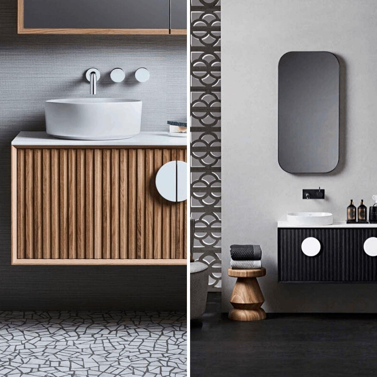 zuster reece issy halo floating timber vanity in oak and black