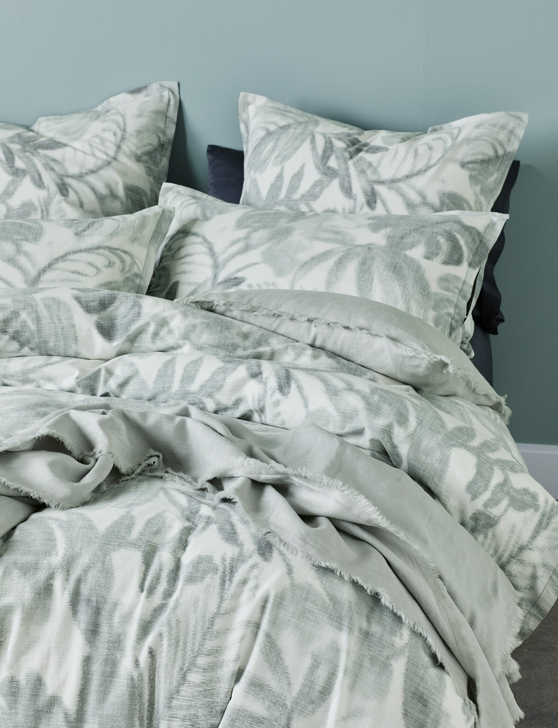 Lorraine Lea quilt cover set marlow green and white bedding