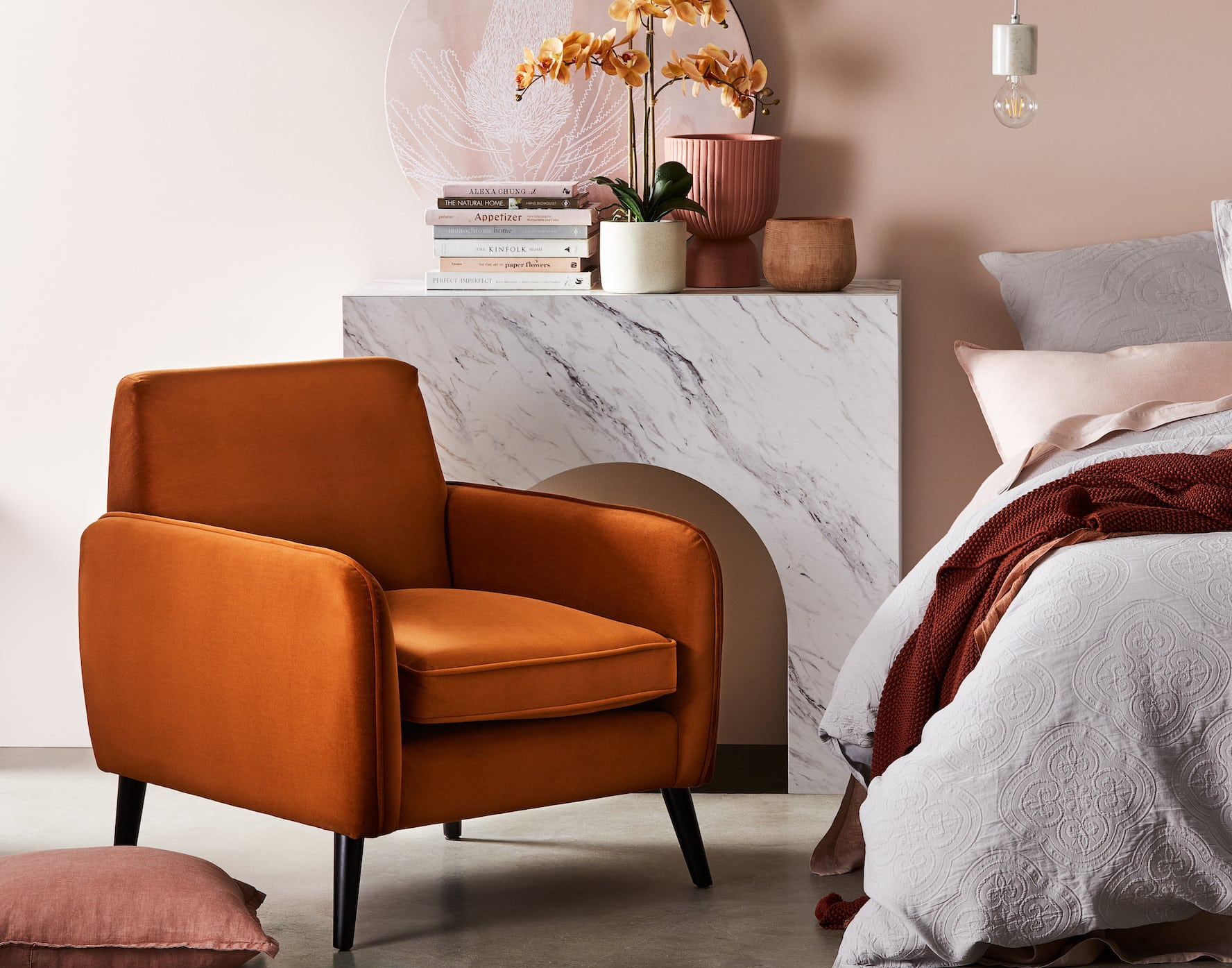 adairs portland armchair burnet orange velvet armchair in pink bedroom