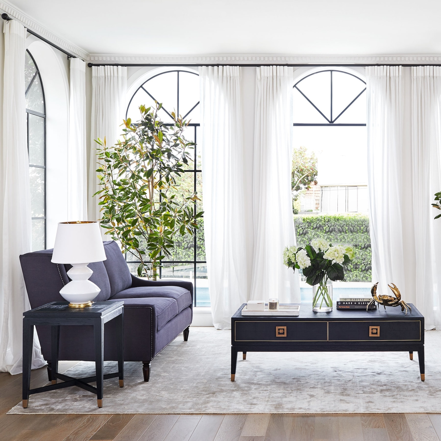 coffee table styling with gold crab ornament coco republic