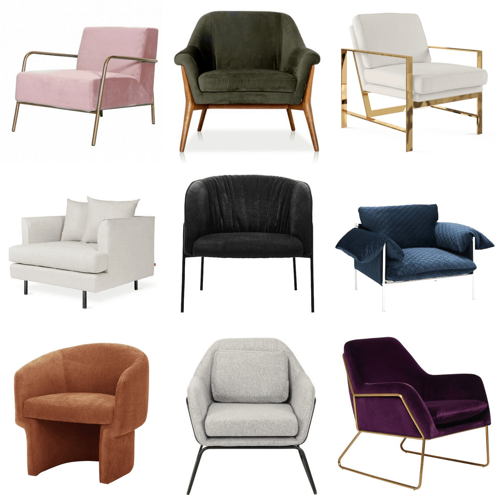 contemporary luxe armchairs and accent chairs velvet chairs