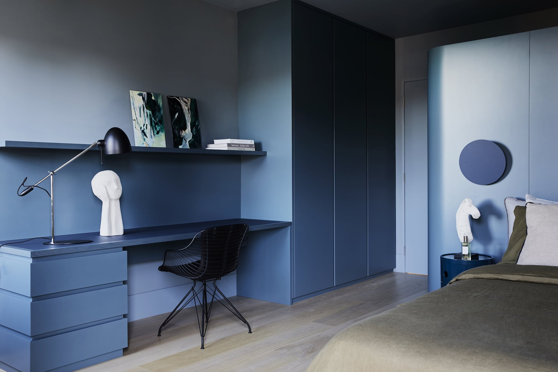 dark blue interior bedroom home office dulux baltic paint colour