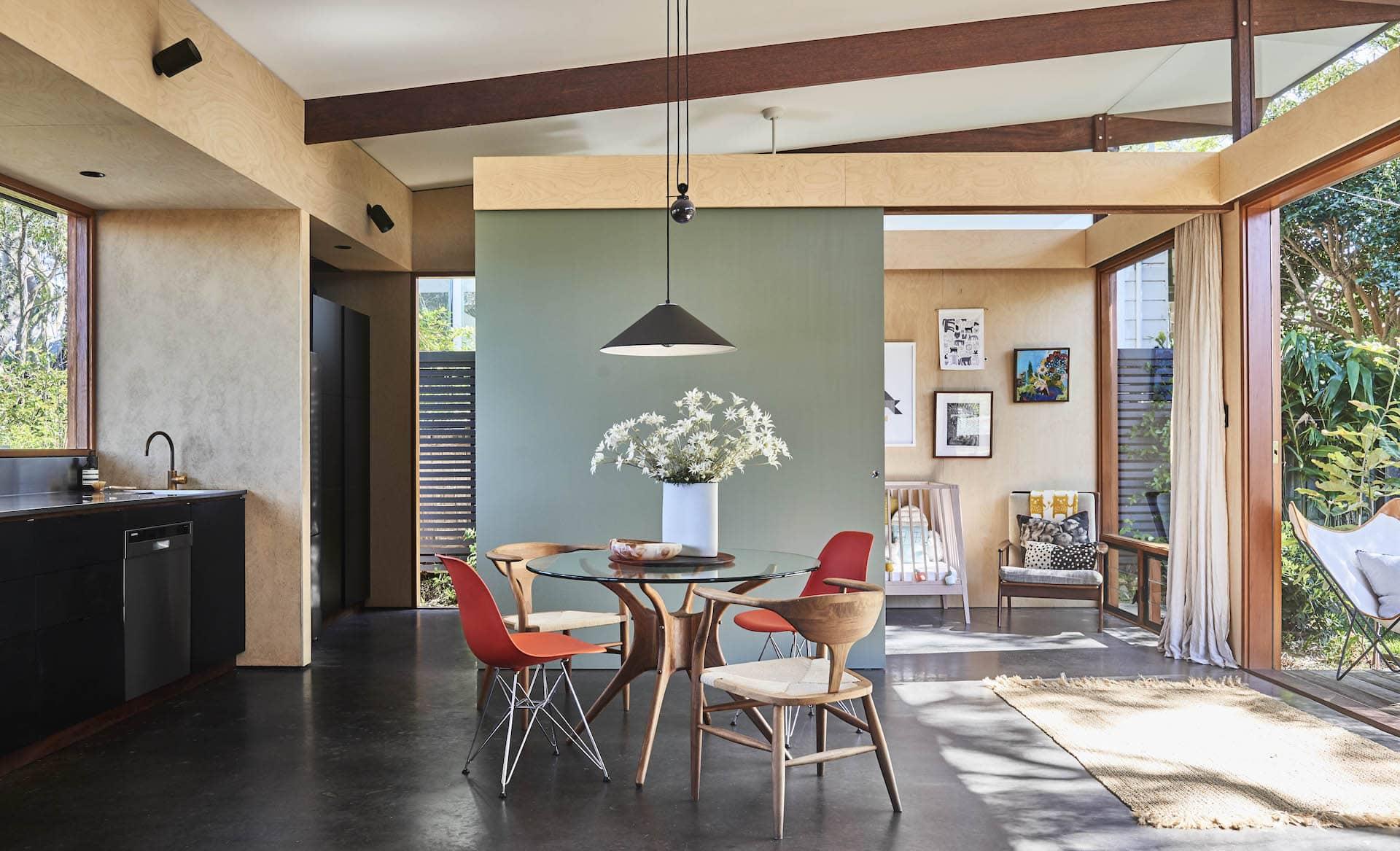 eclectic open plan home dulux battle dress paint colours