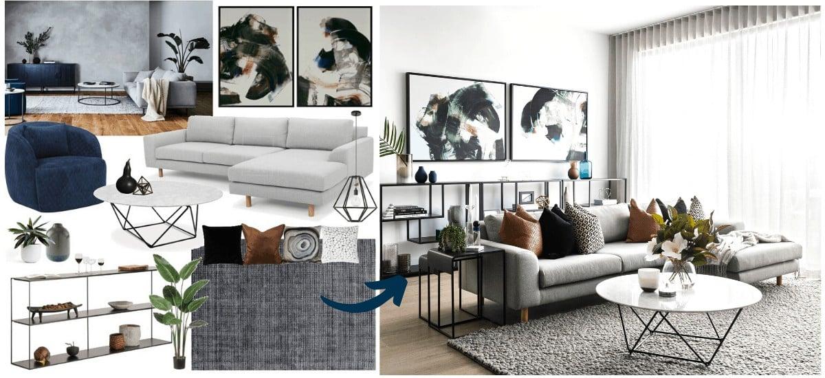 edesign online design mood board by tlc interiors modern living room