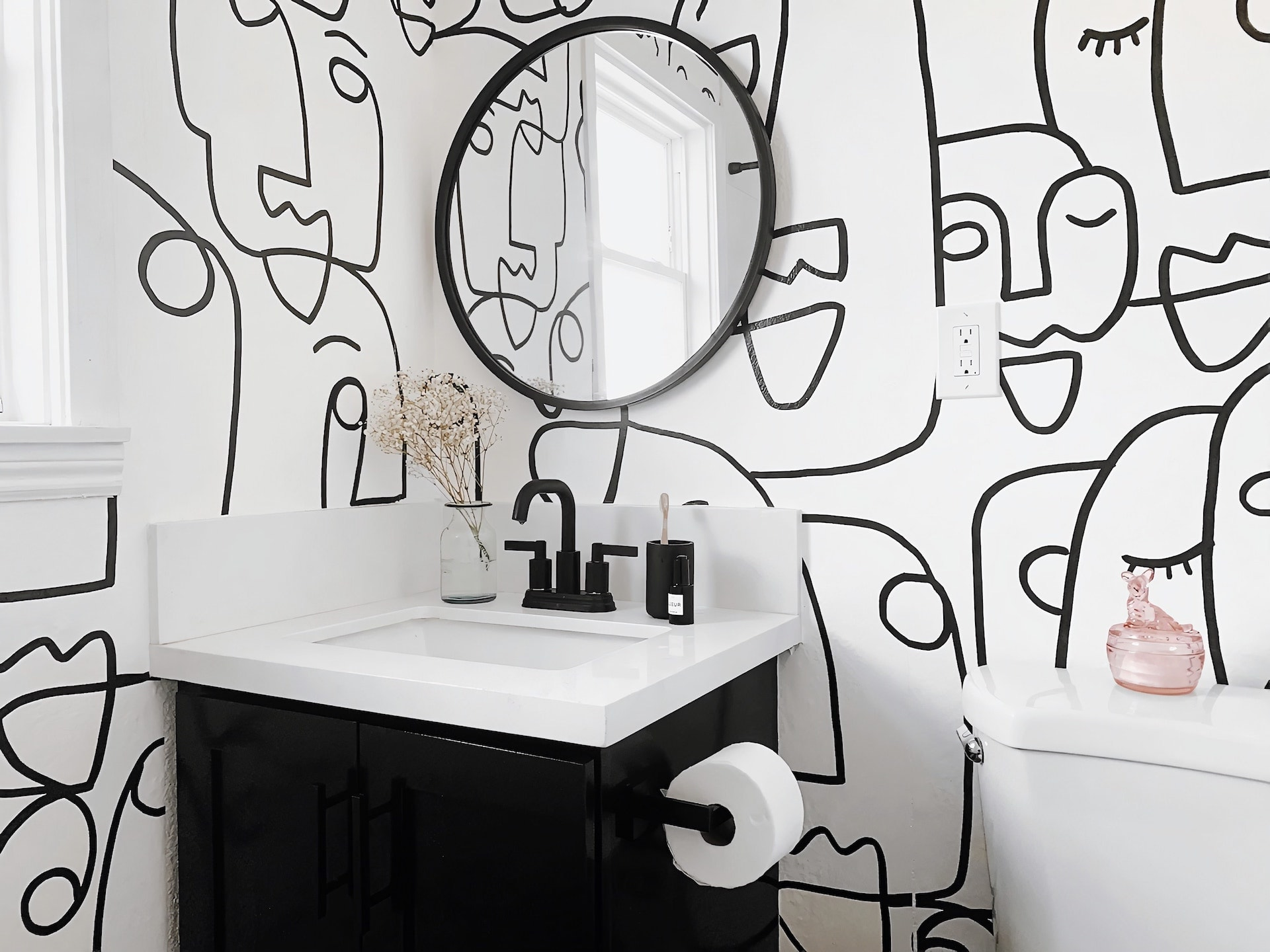face wallpaper black and white face line drawing wallpaper in bathroom