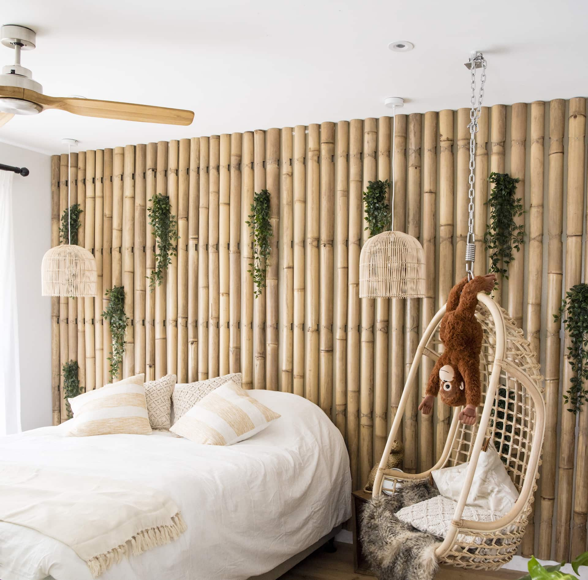 house rules 2020 kayne and aimees house boho bedroom with bamboo feature wall