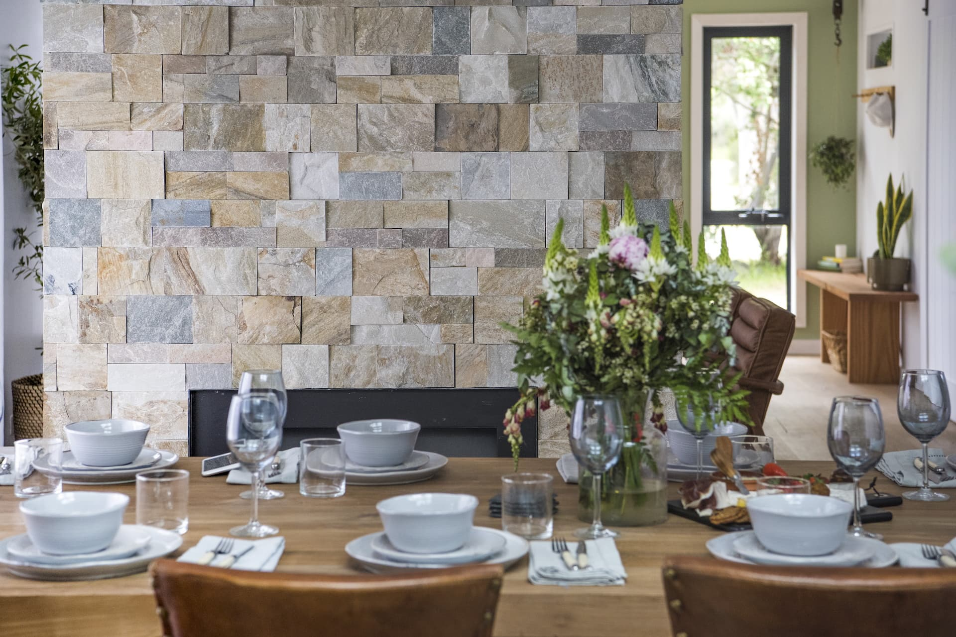 house rules 2020 kayne and aimees house dining room stack stone feature wall