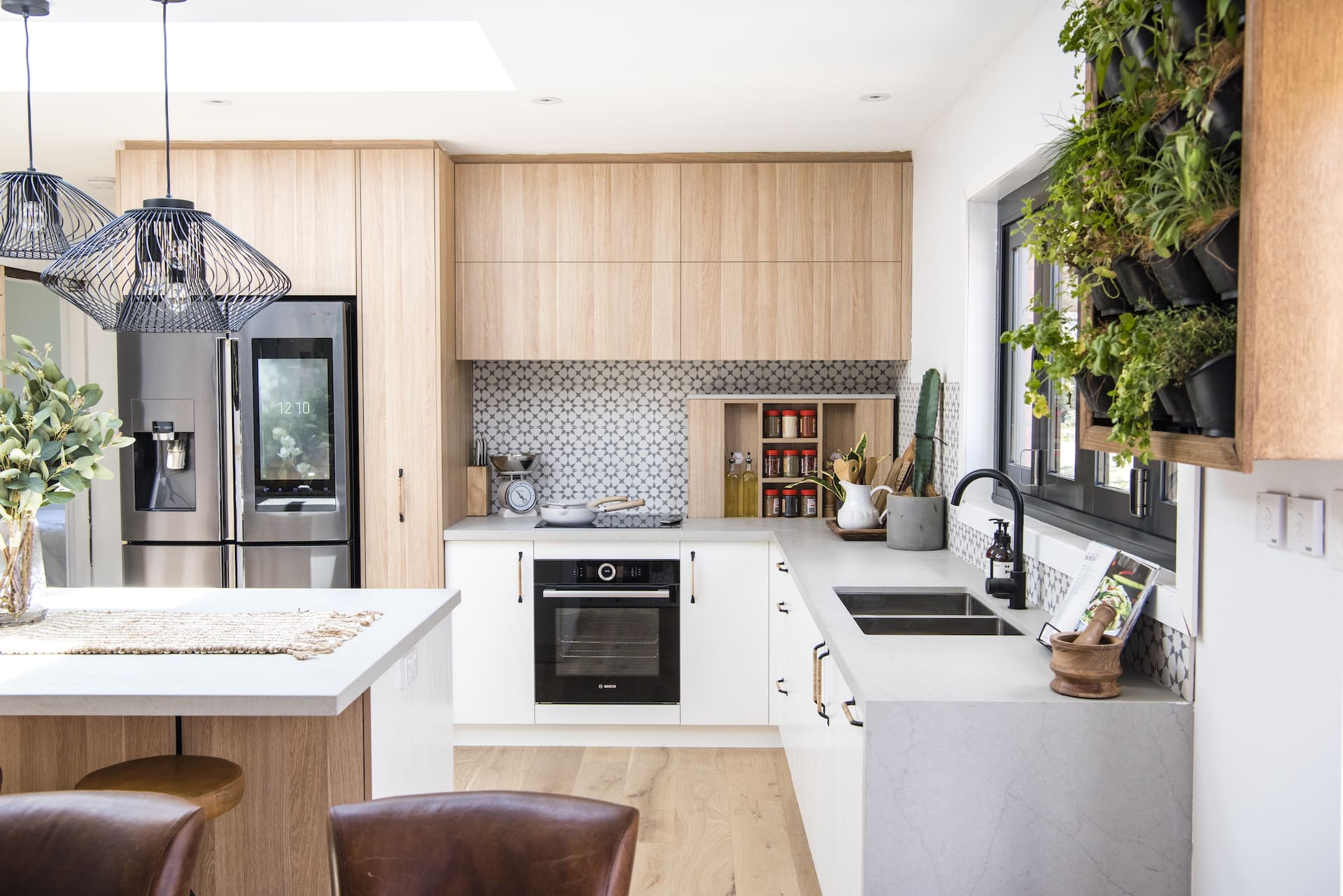 house rules 2020 kayne and aimees house kitchen with grey concrete benchtop
