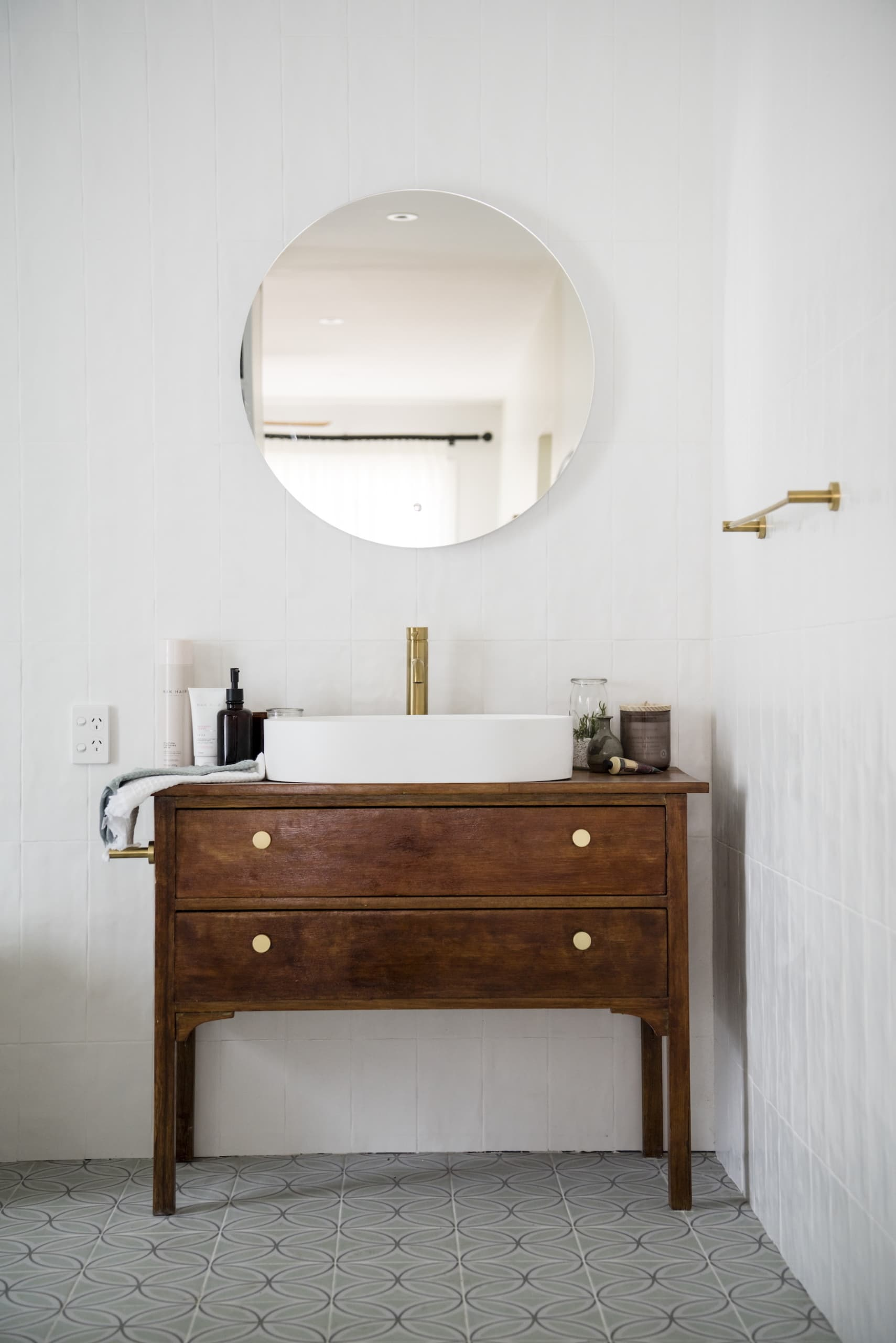 house rules 2020 kayne and aimees house upcycled sideboard as bathroom vanity