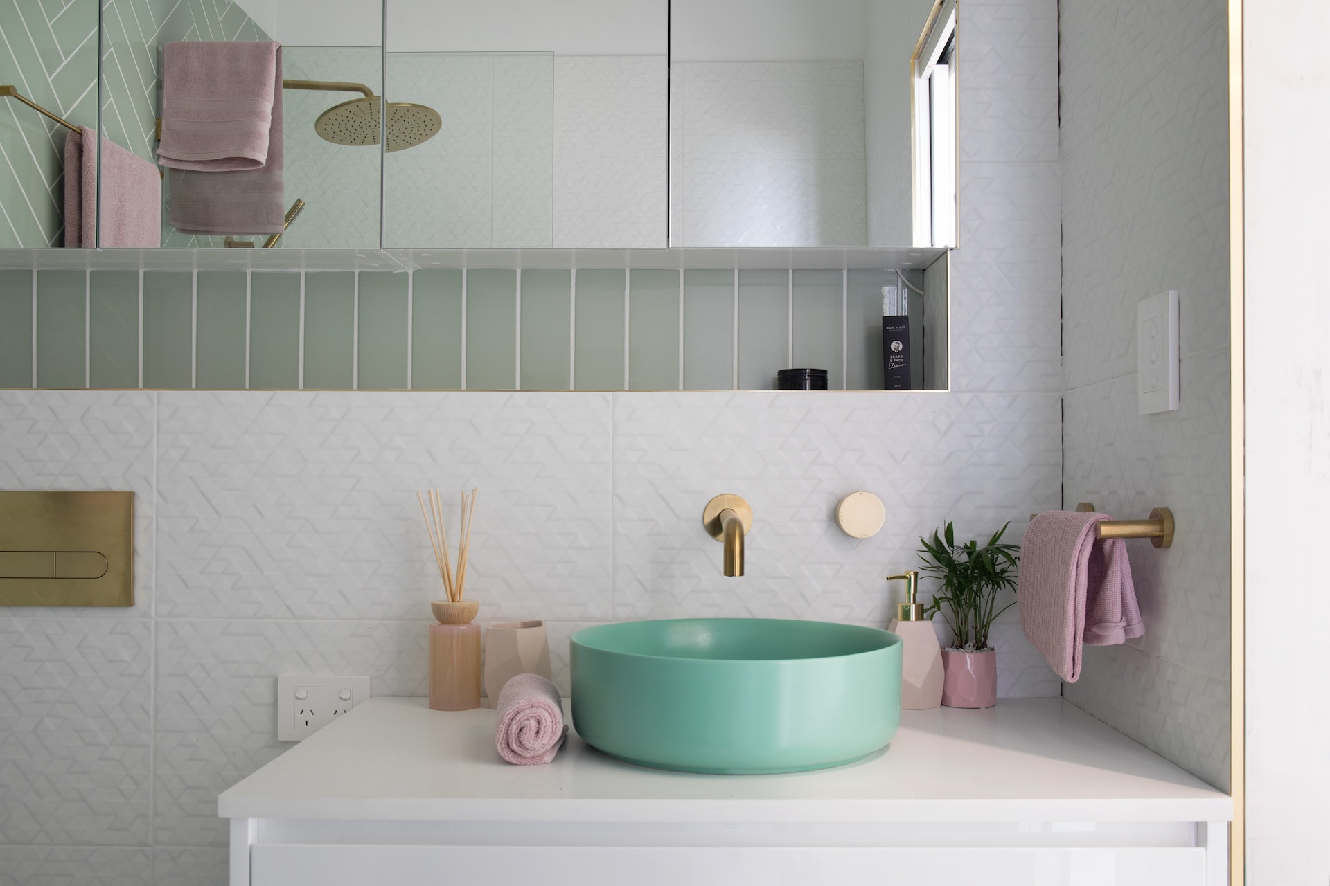 house rules 2020 penthouse reveal bathroom with mint green basin