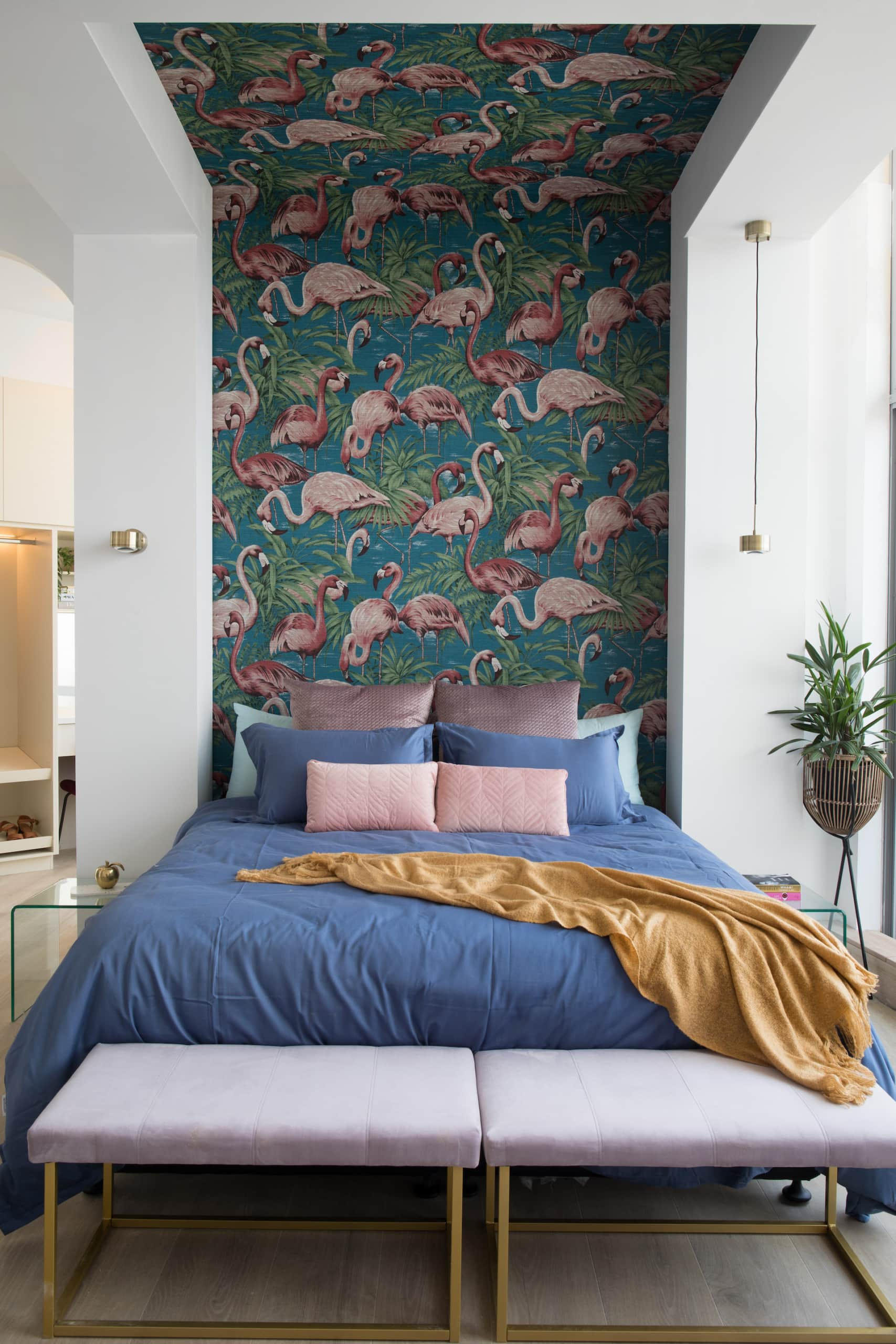 house rules 2020 penthouse reveal bedroom with flamingo wallpaper