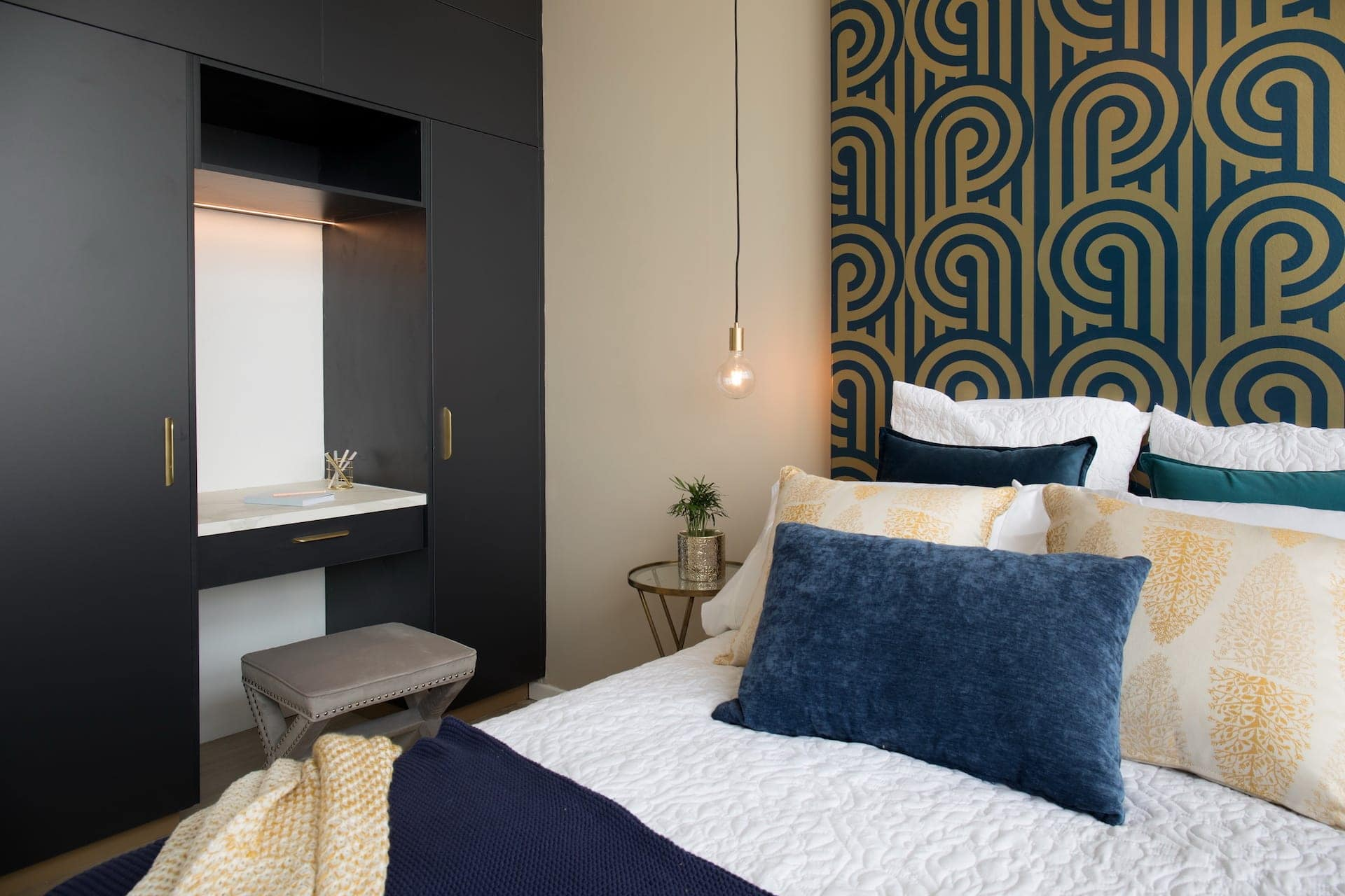 house rules 2020 penthouse reveal bedroom with wallpaper headboard and desk