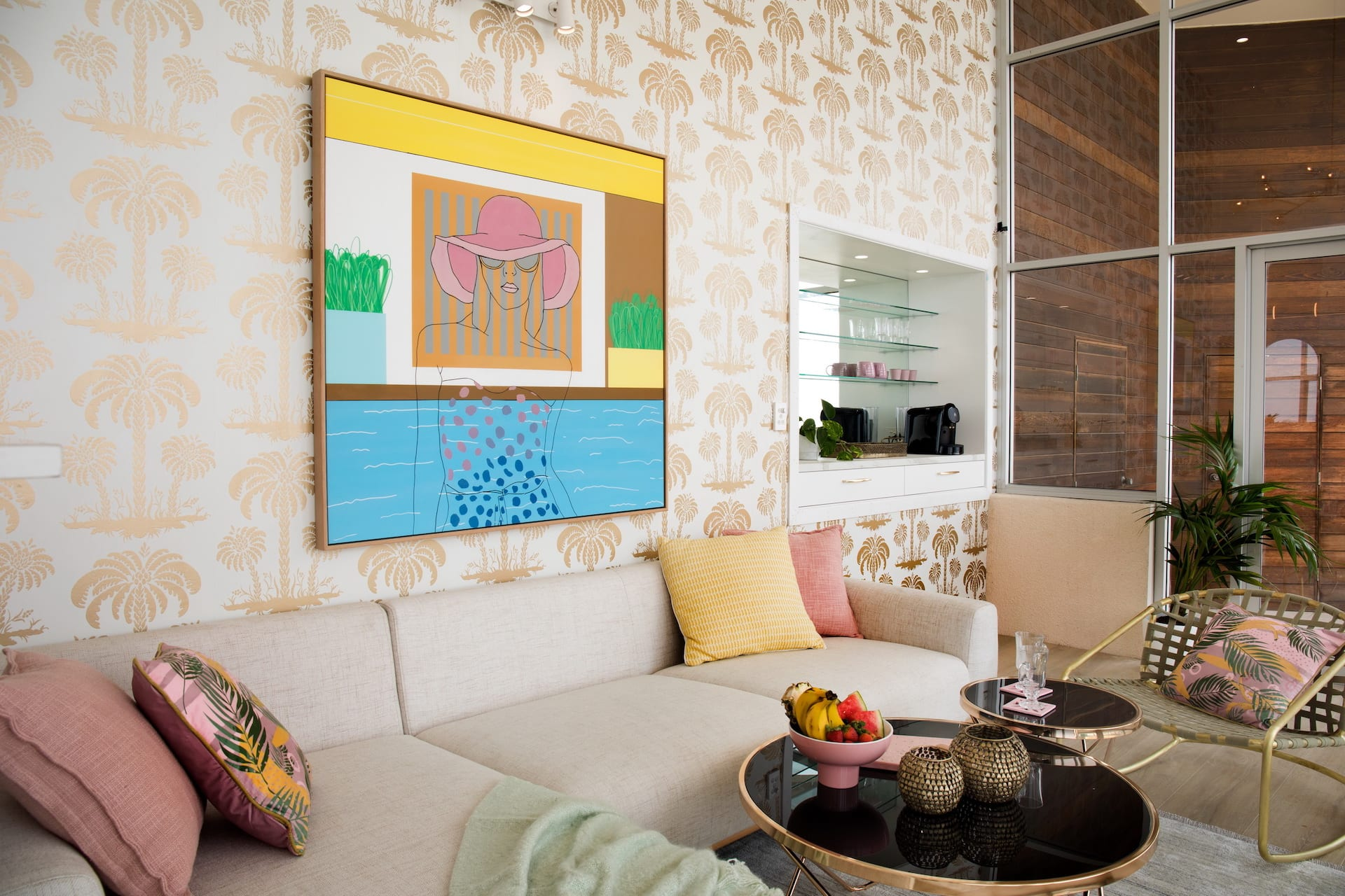 house rules 2020 penthouse reveal living room with tropical wallpaper