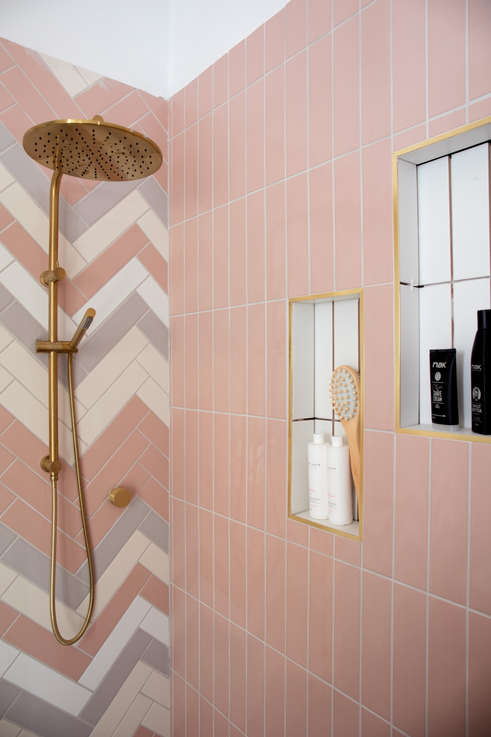 house rules 2020 penthouse reveal pink bathroom tiles with gold trim