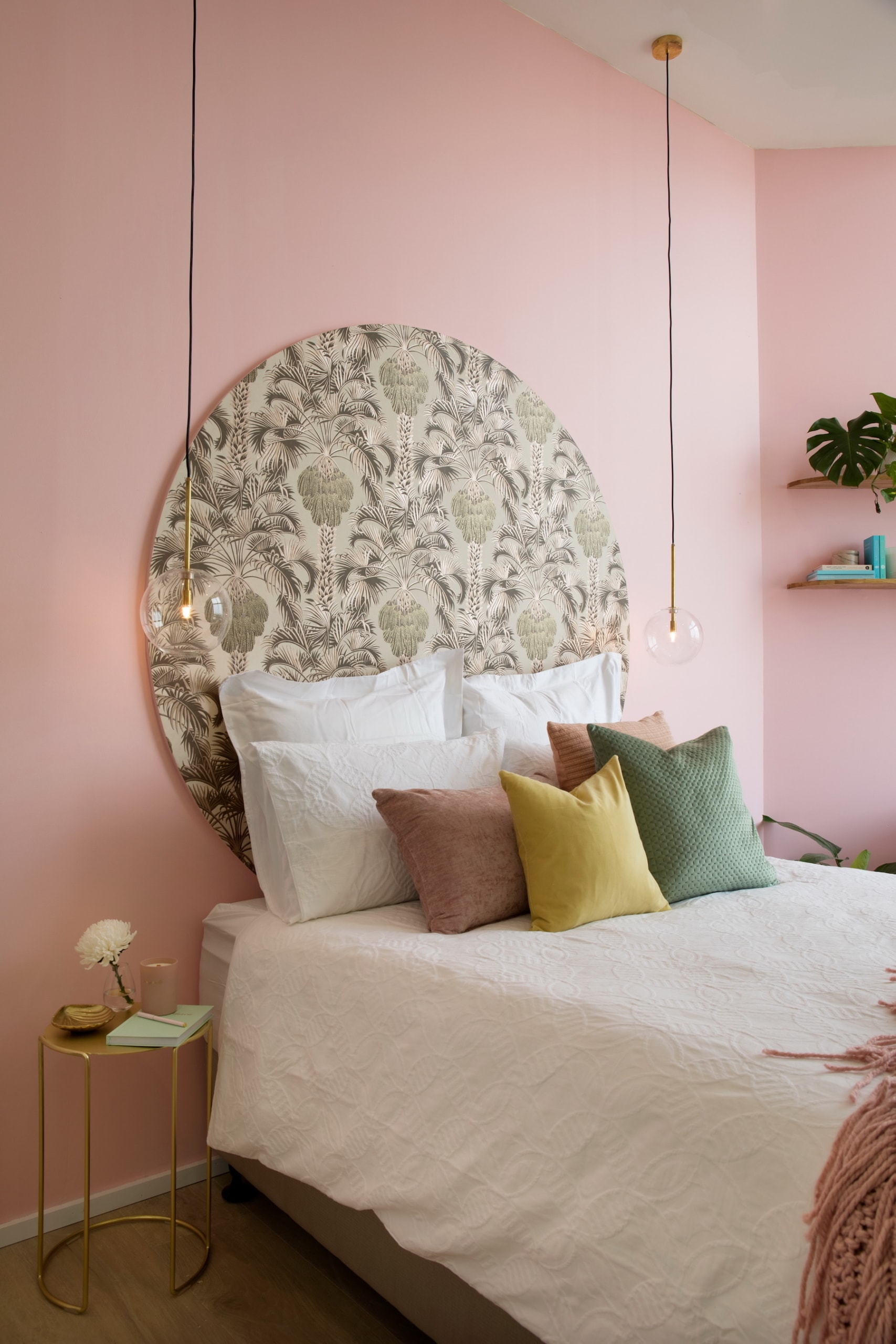 house rules 2020 penthouse reveal pink guest bedroom with brass bedside tables