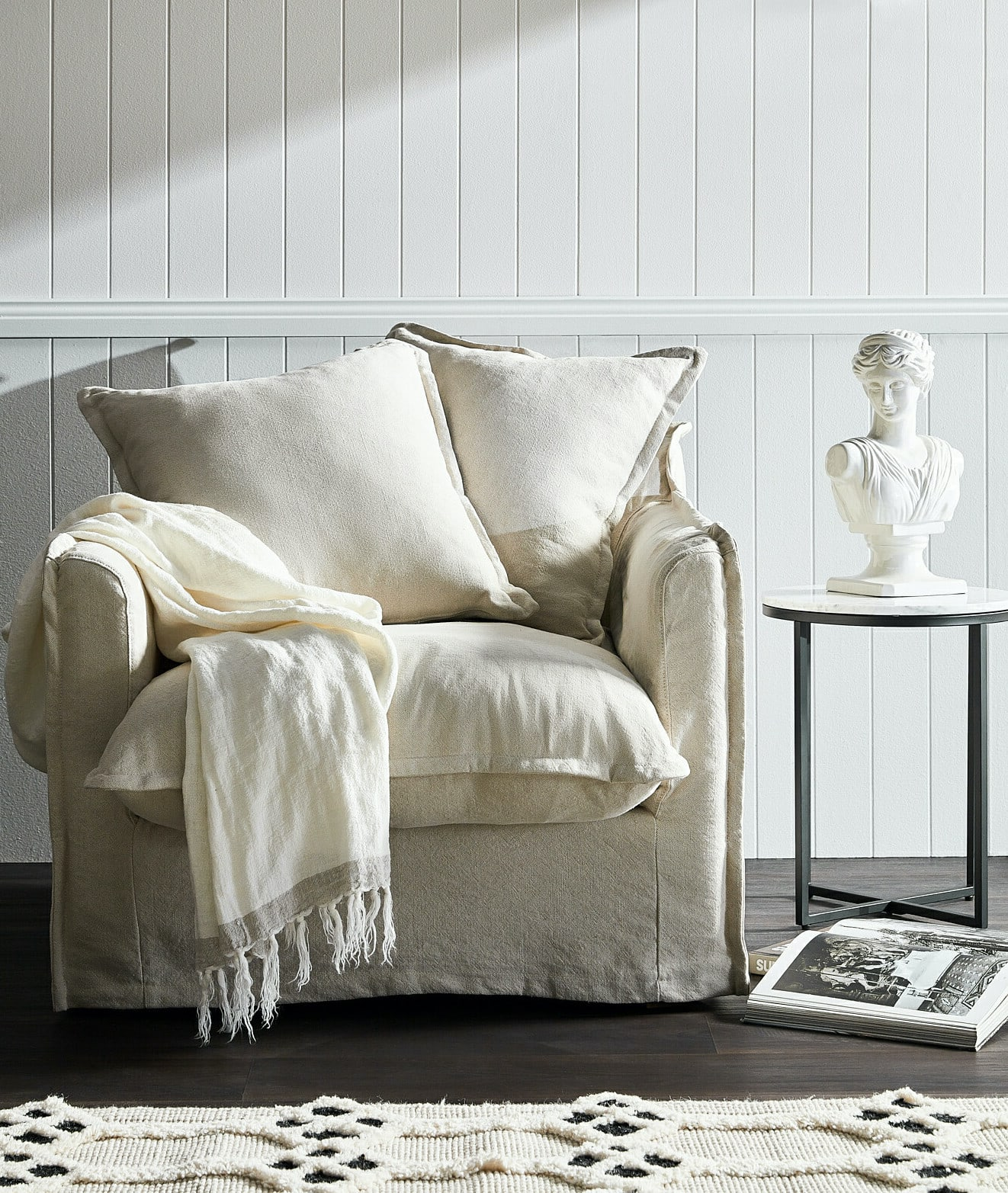 hyde park home white linen armchair temple and webster