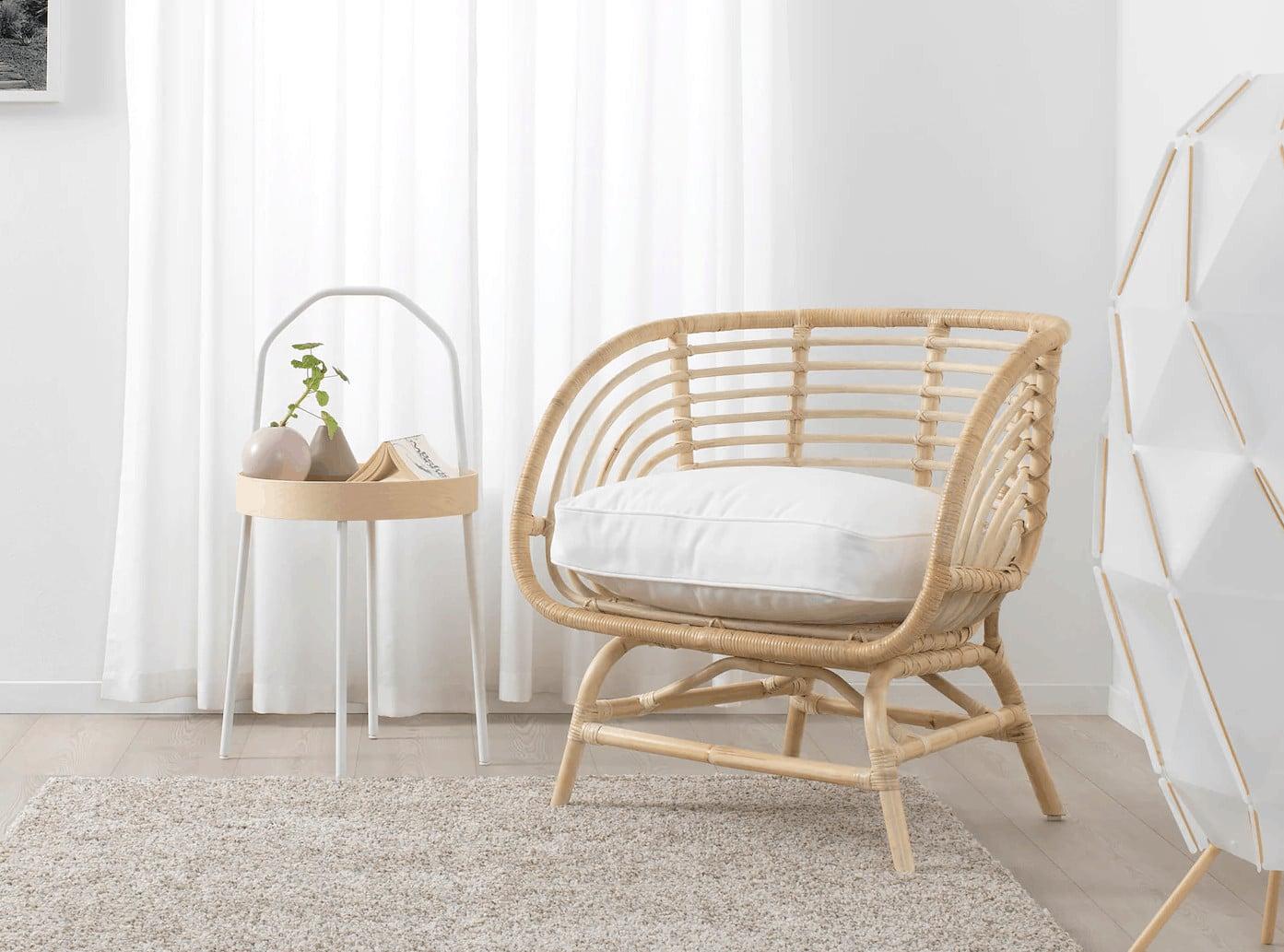 ikea rattan armchair coastal boho interior design
