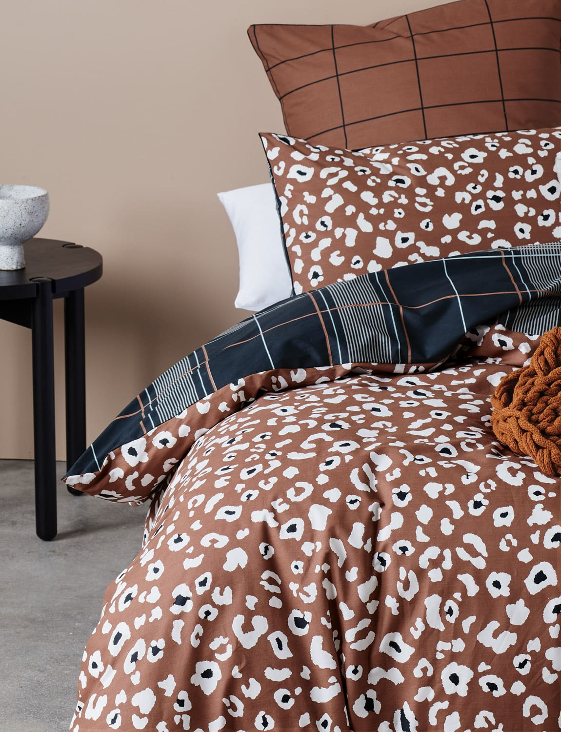 lorraine lea bahati orange leopart print quilt cover set
