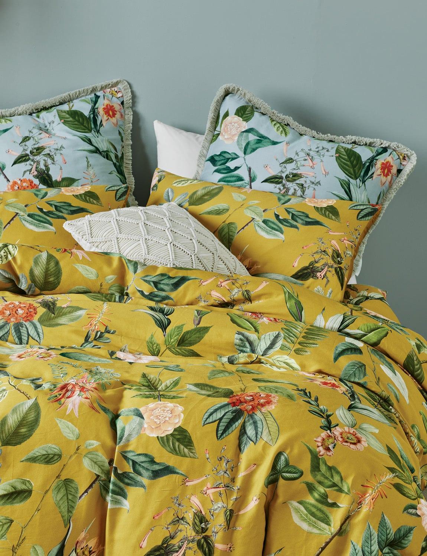 lorraine lea clare yellow floral quilt cover set