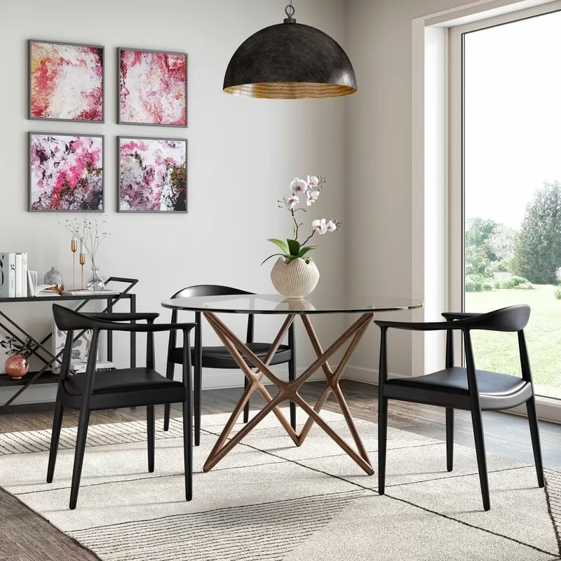 round glass dining table with criss cross timber legs small dining room