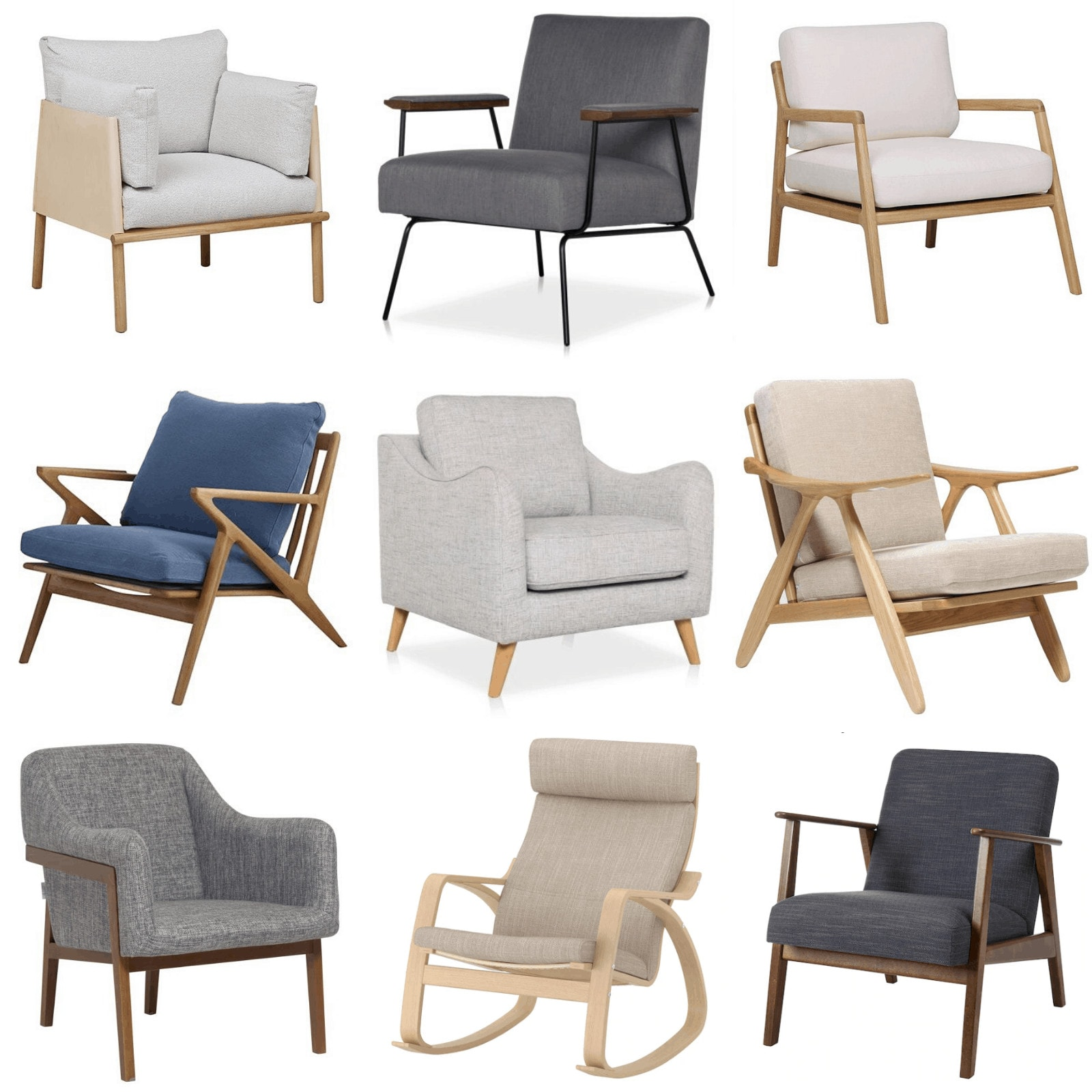 scandinavian and mid century armchairs and accent chairs mood board
