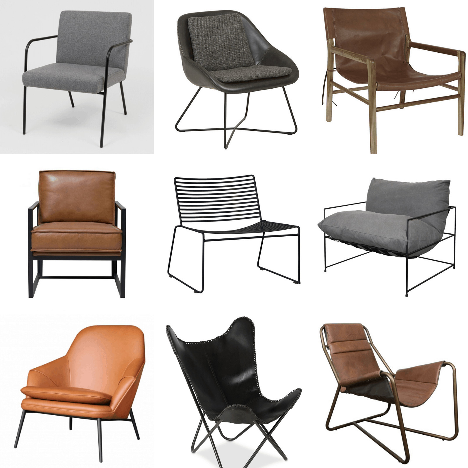 urban industrial armchairs and accent chairs mood board leather armchairs
