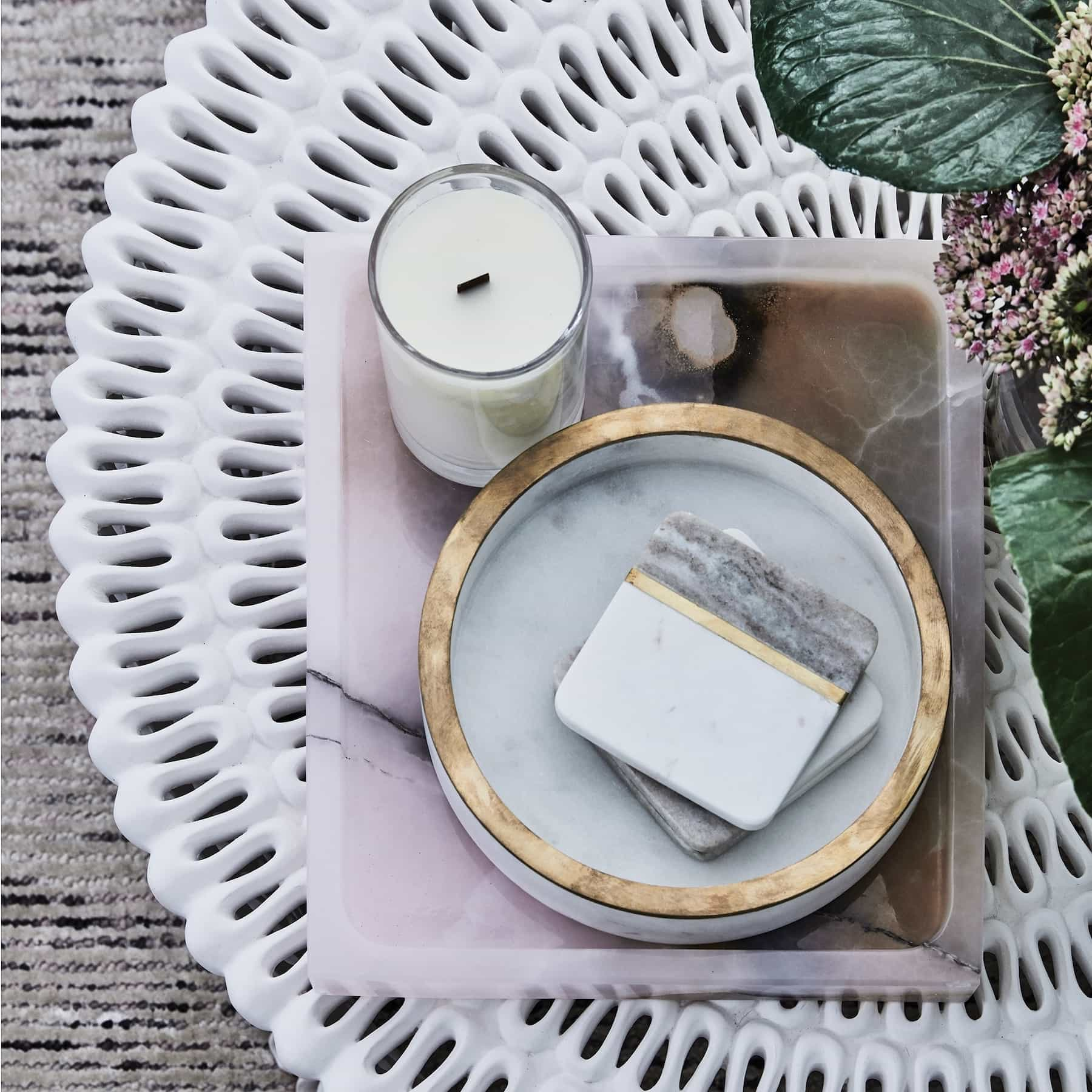 white marble and gold coasters coco republic coffee table styling