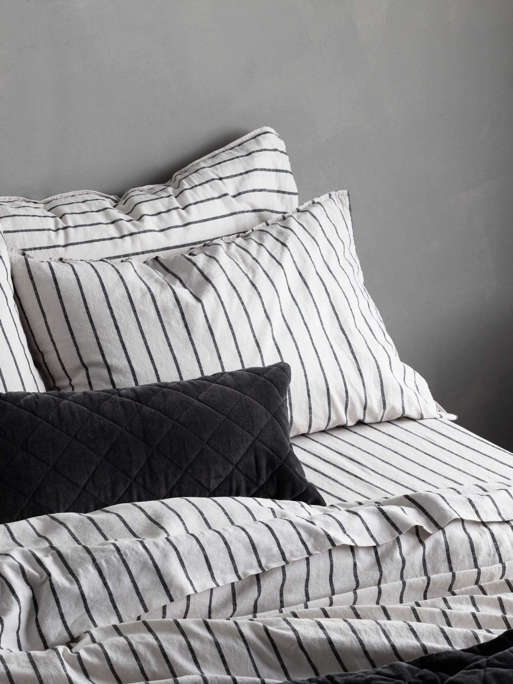 australian bed linen online landm home black and white stripe bed linen