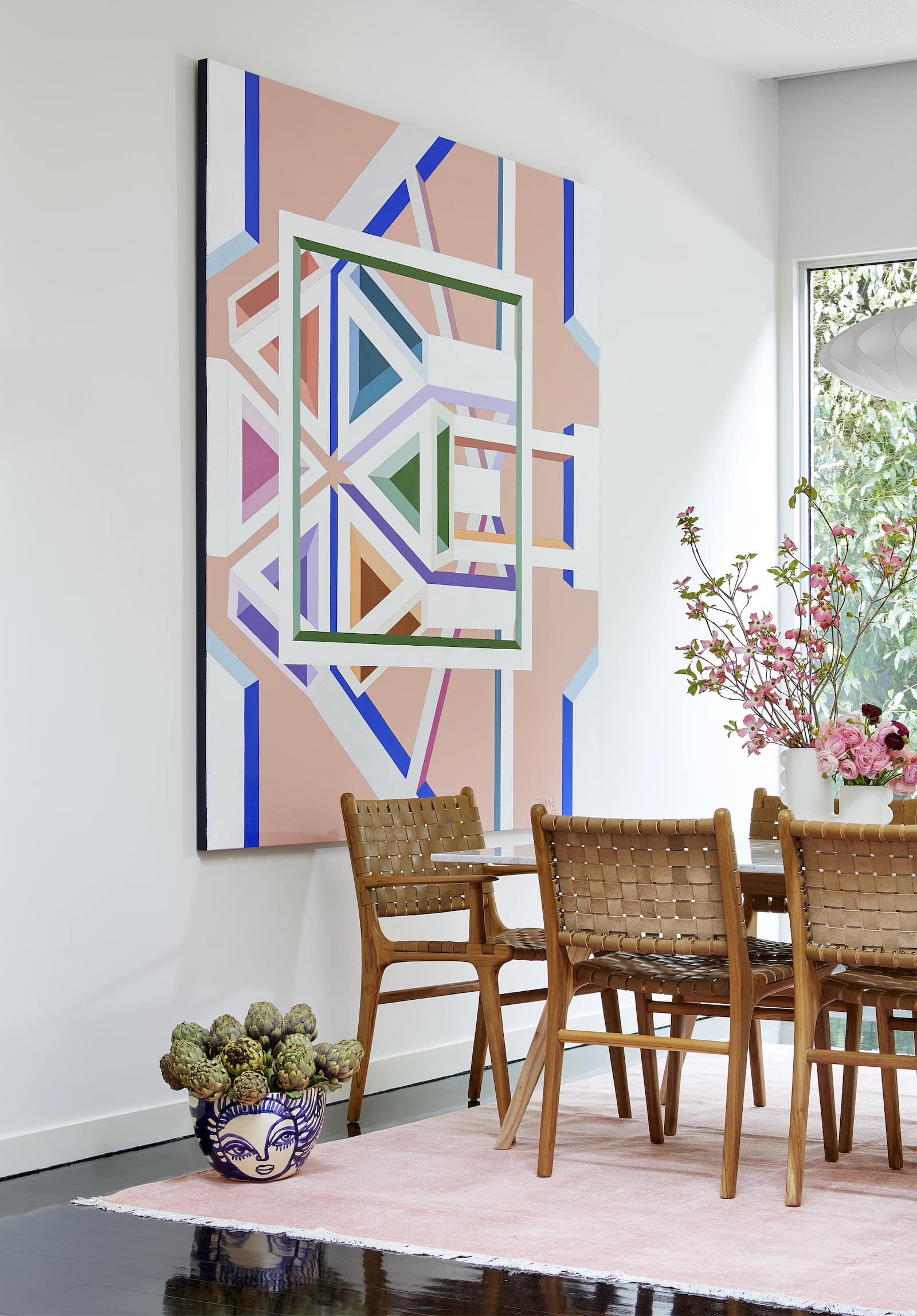 fenton and fenton large abstract pink geometric art in dining room