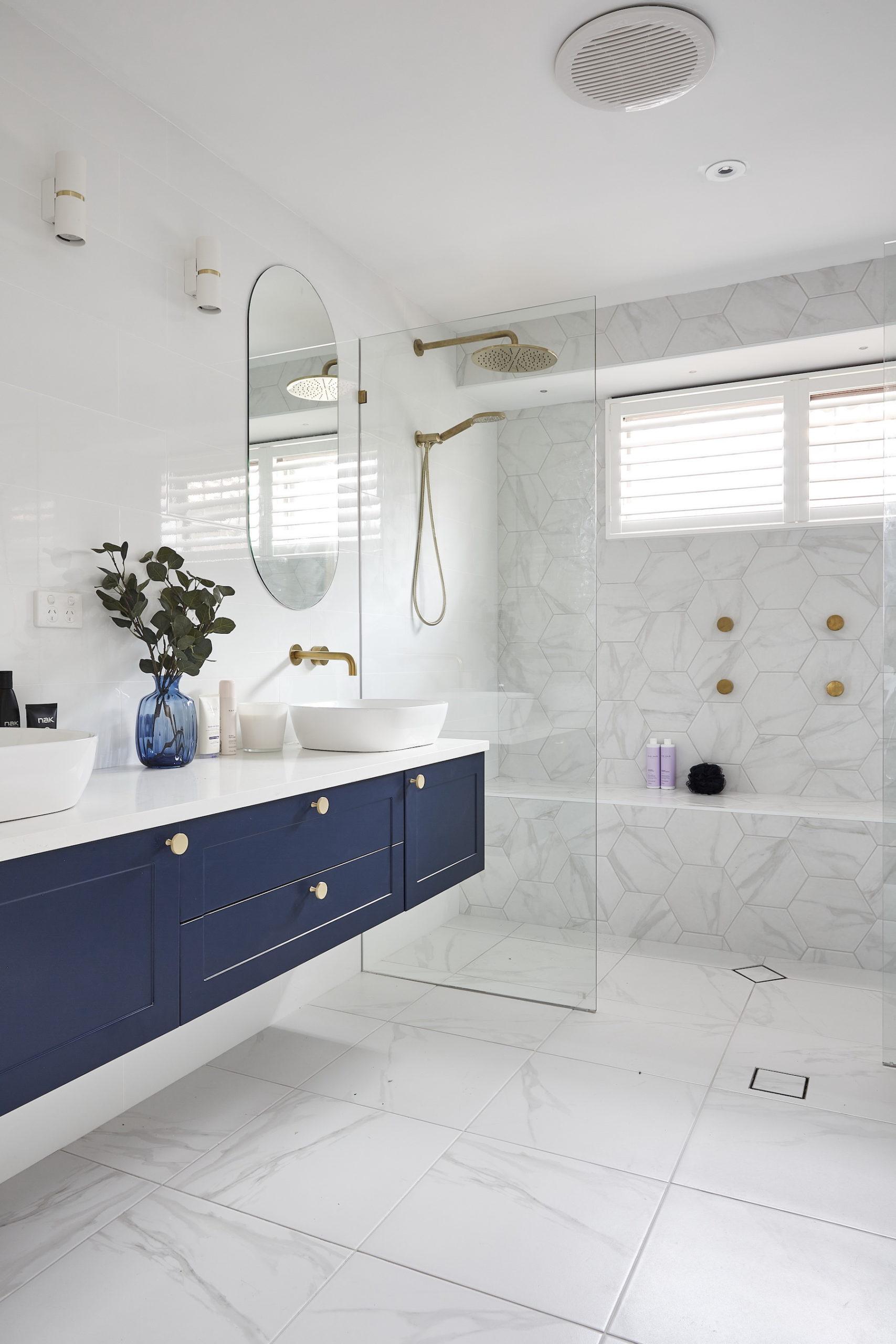 house rules 2020 lenore hamptons bathroom navy blue vanity gold handles