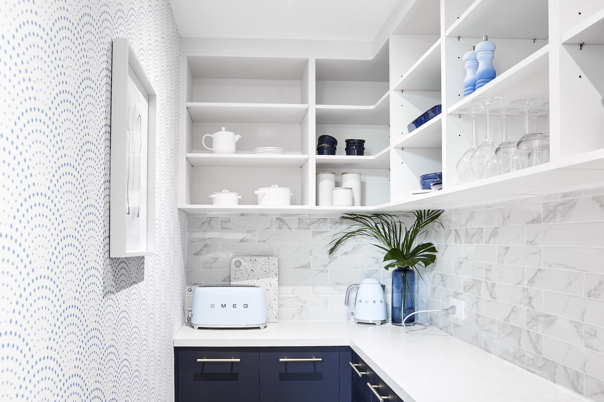 house rules 2020 lenore hamptons butlers pantry with blue and white wallpaper