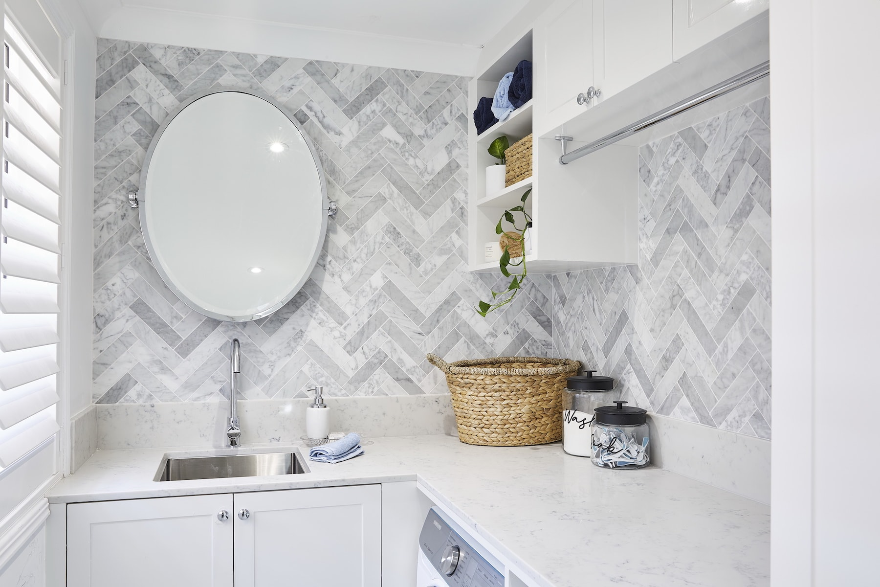 house rules 2020 lenore laundry with herringbone marble tile feature wall