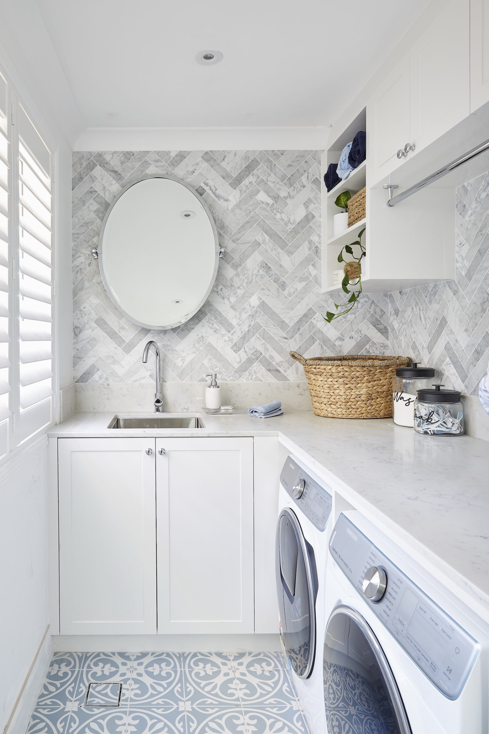 house rules 2020 lenore white laundry with marble herringbone tiles