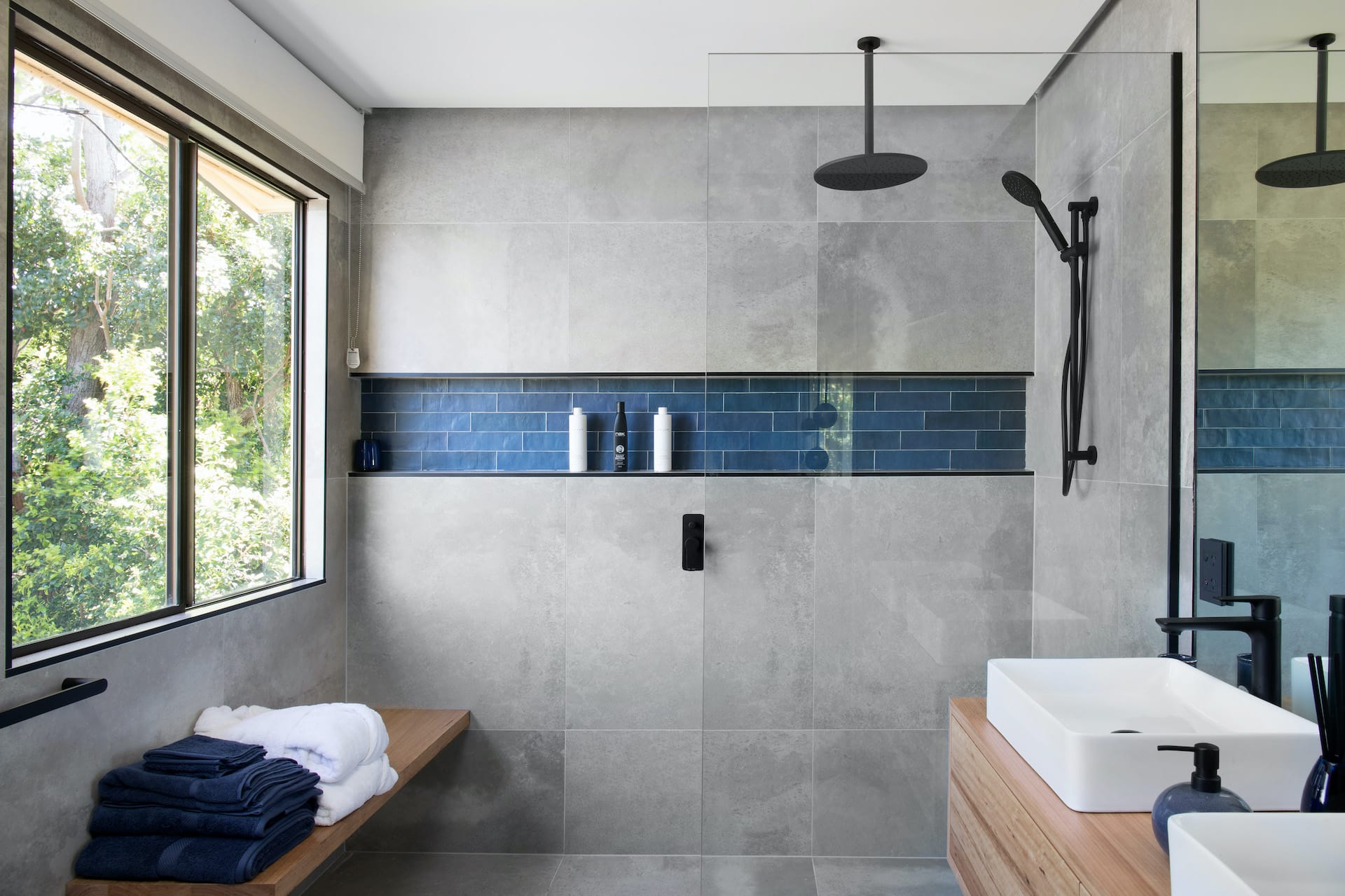 house rules 2020 tamara and rhys bathroom with concrete walls and freestanding bath