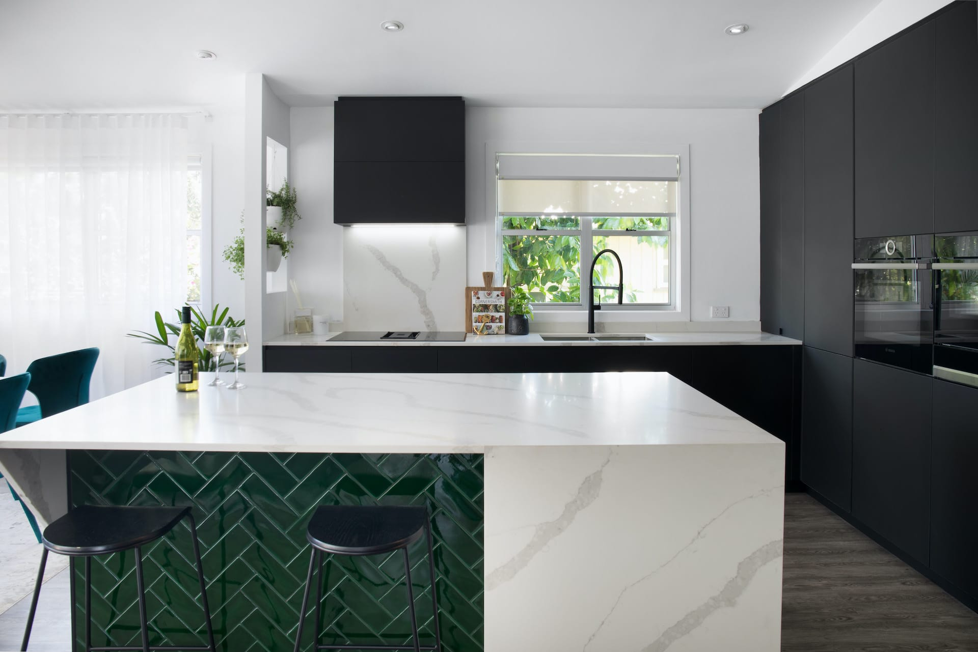 house rules 2020 tamara and rhys black kitchen with green feature tile