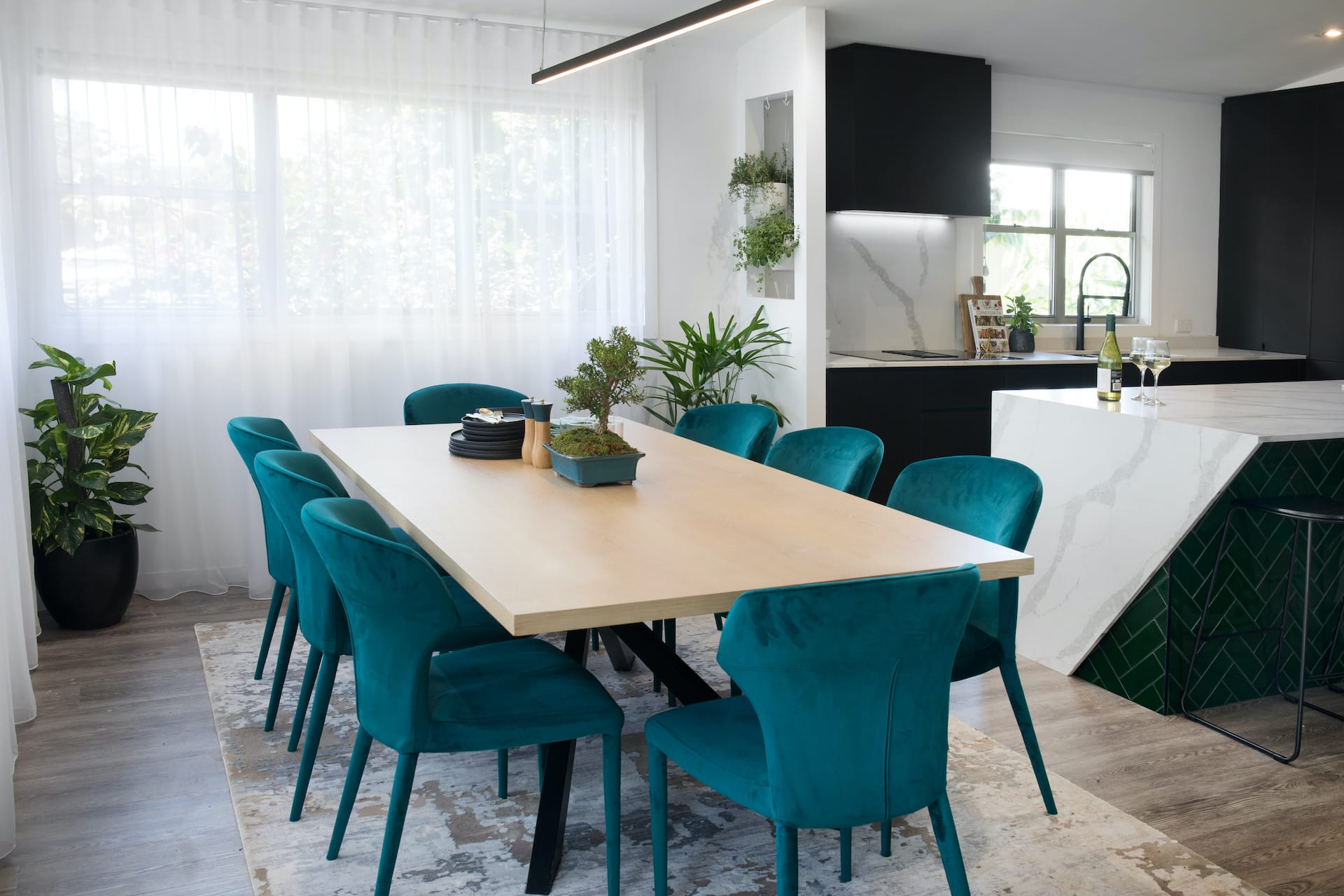 house rules 2020 tamara and rhys dining room with teal dining chairs