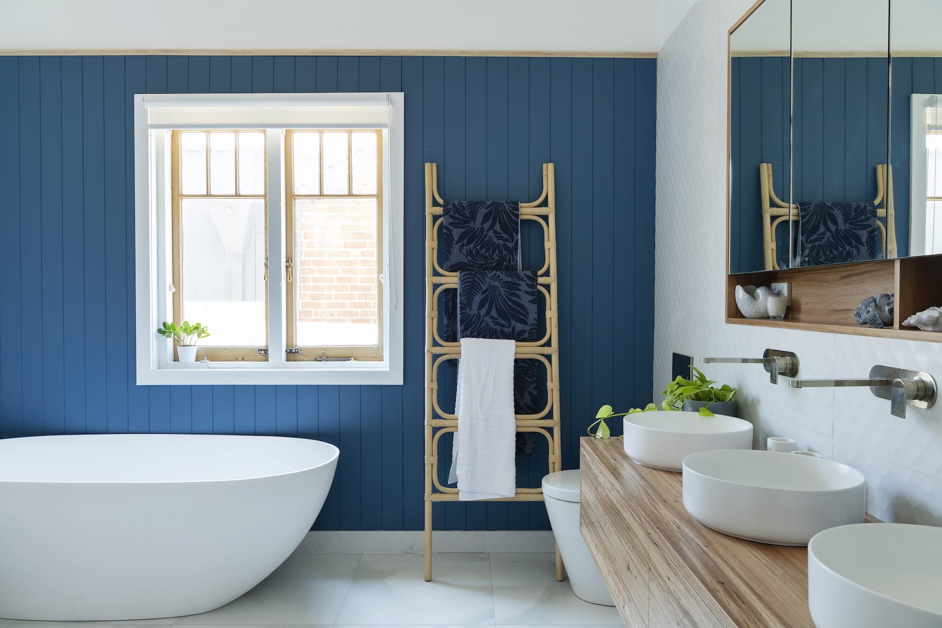 house rules 2020 tanya and dave reveal blue vj panel in hamptons bathroom with freestanding bath