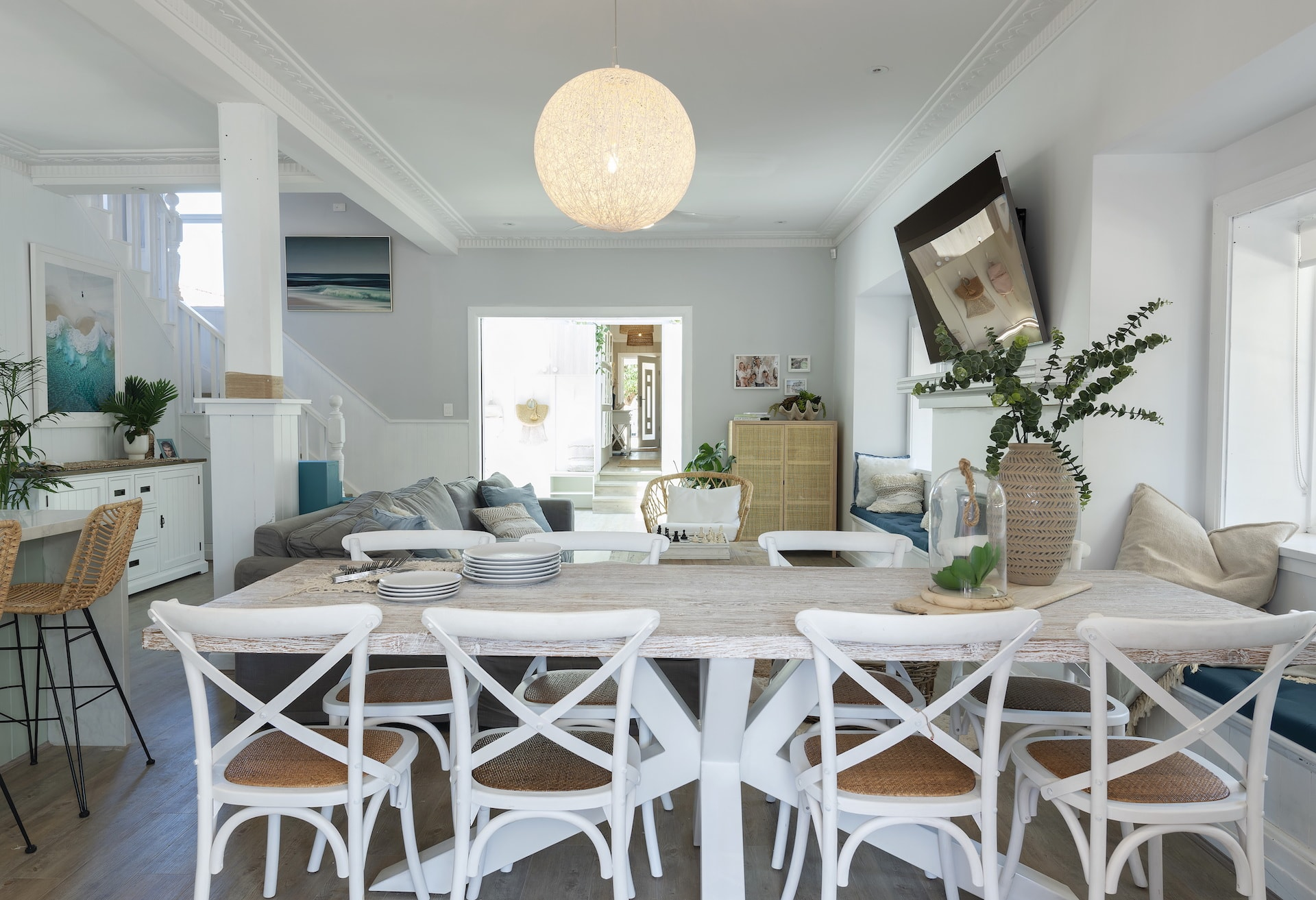 house rules 2020 tanya and dave reveal coastal dining room with white bentwood chairs