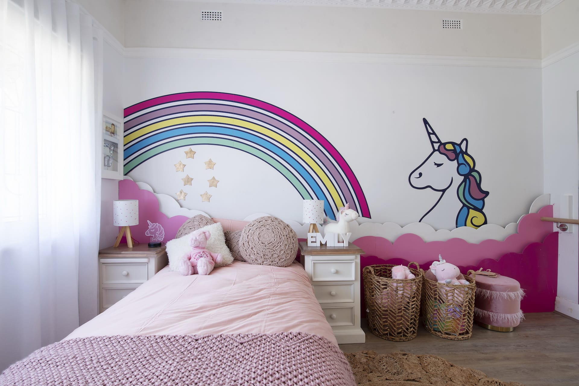 house rules 2020 tanya and dave reveal girls bedroom with rainbow mural and unicorn decal