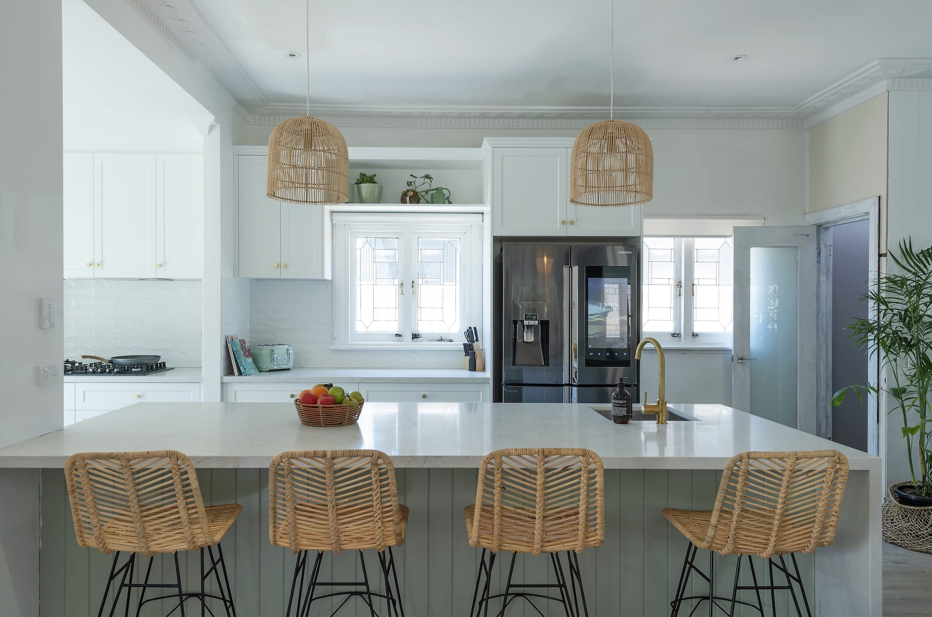 house rules 2020 tanya and dave reveal kitchen with boho pendant lights