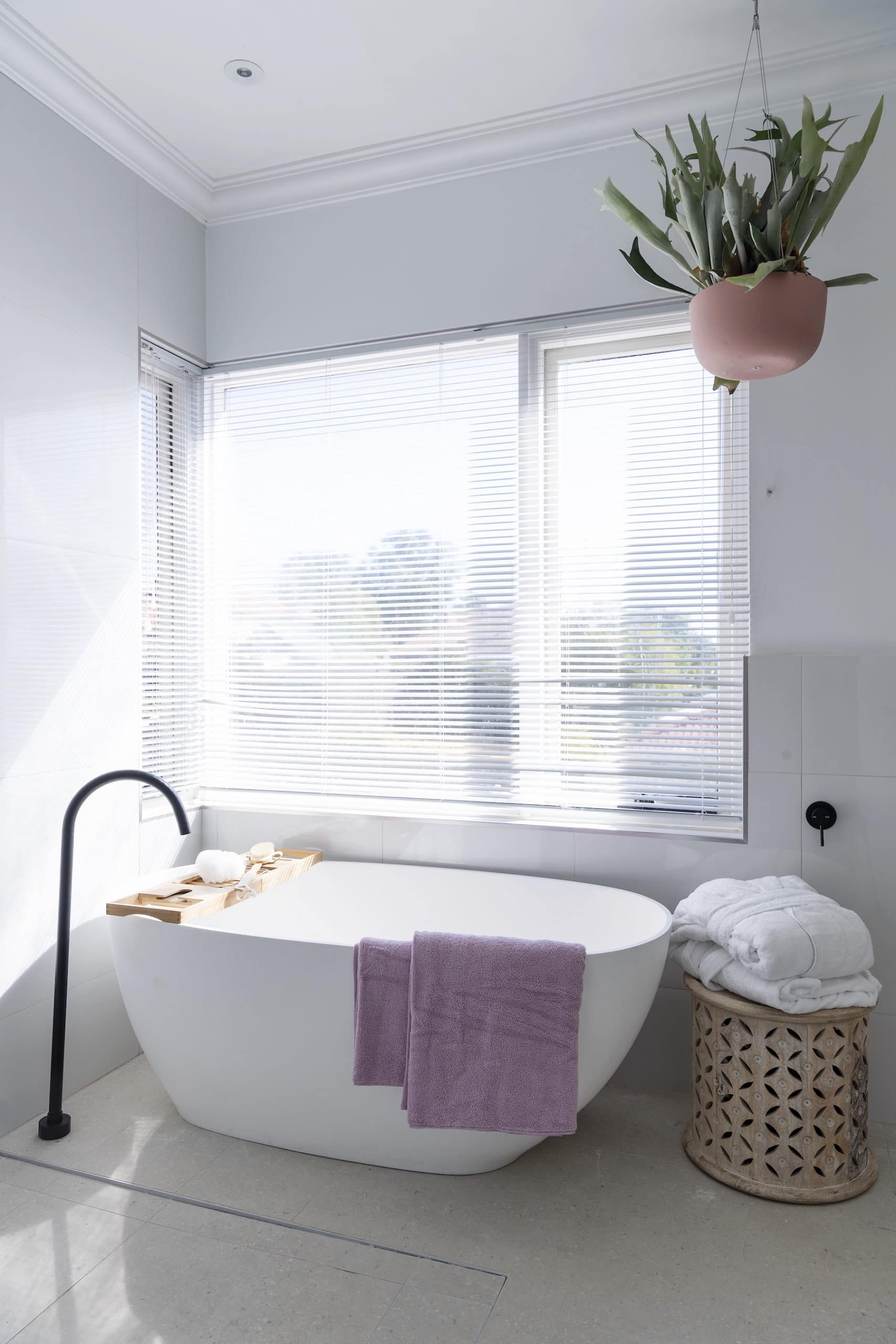 house rules 2020 tanya and dave reveal white freestanding bath tub with matt black floor tap