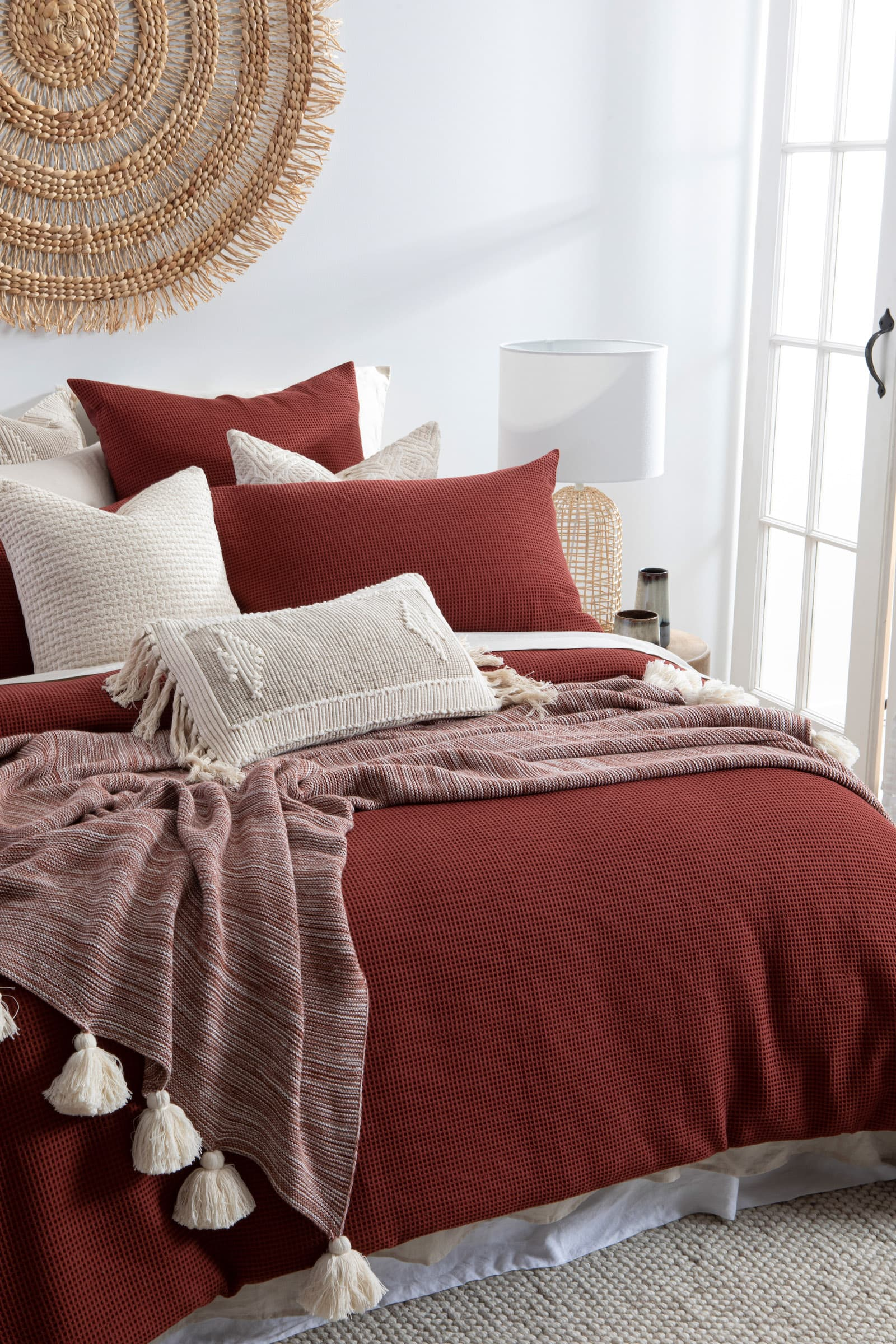 pillow talk emerson quilt cover set in white boho bedroom