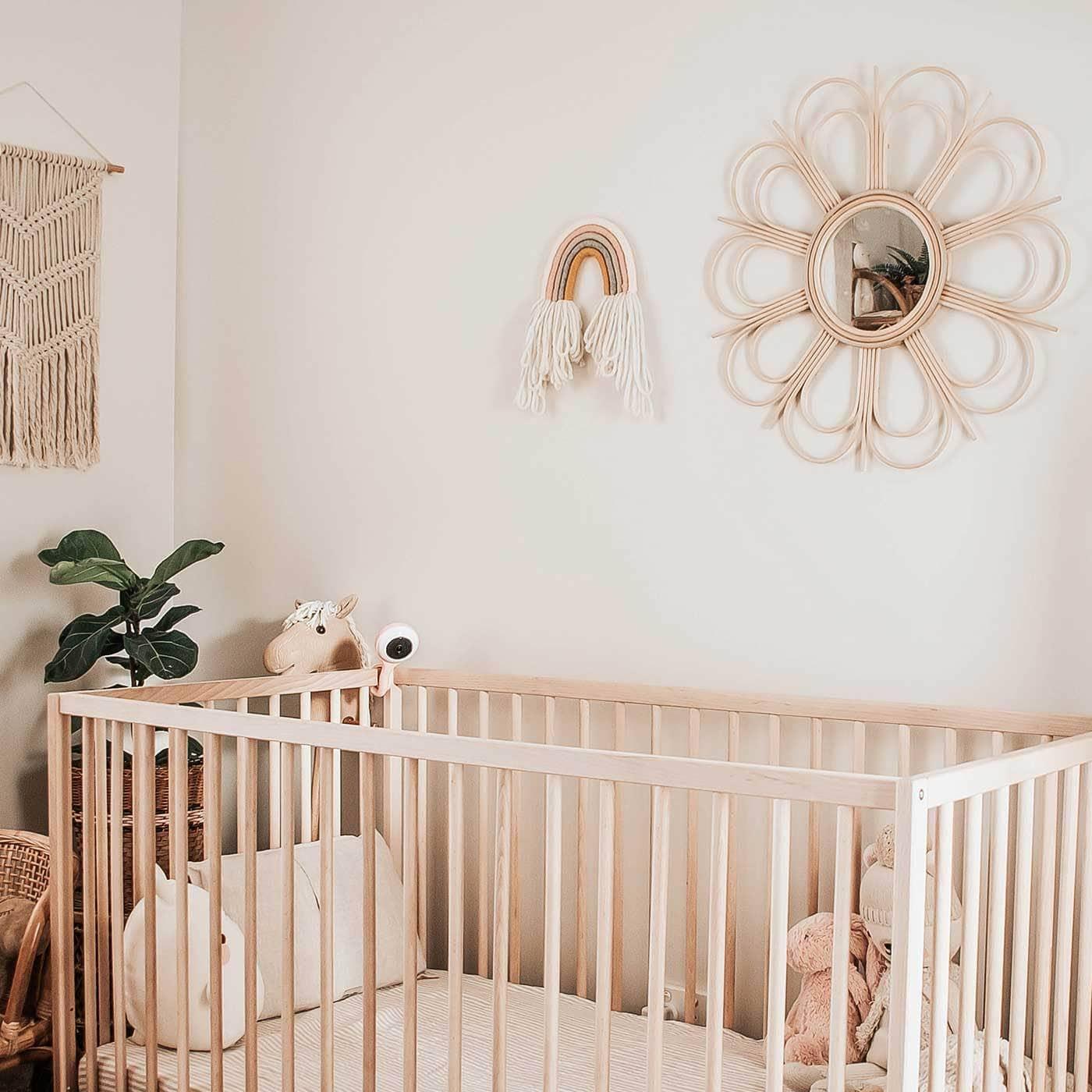 rattan flower mirror in bohemian baby nursery boho decor ideas