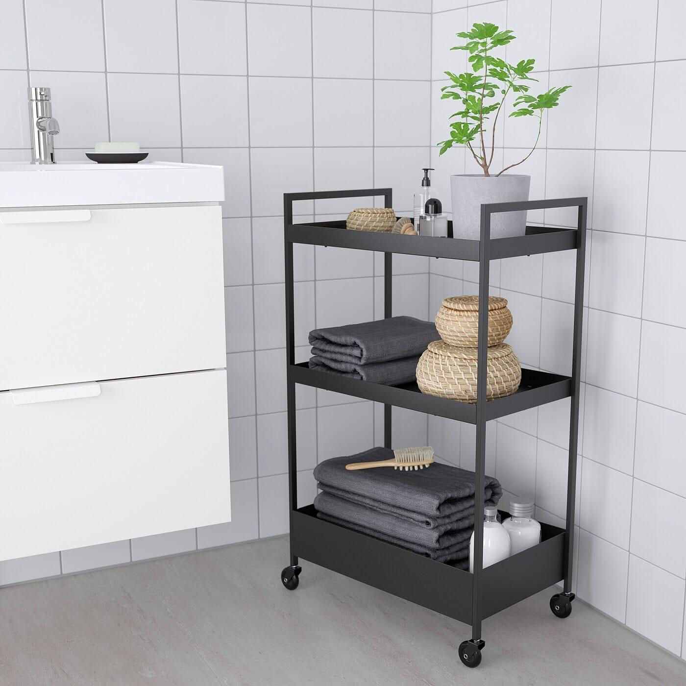 bathroom towel styling in black ikea nissaford trolley