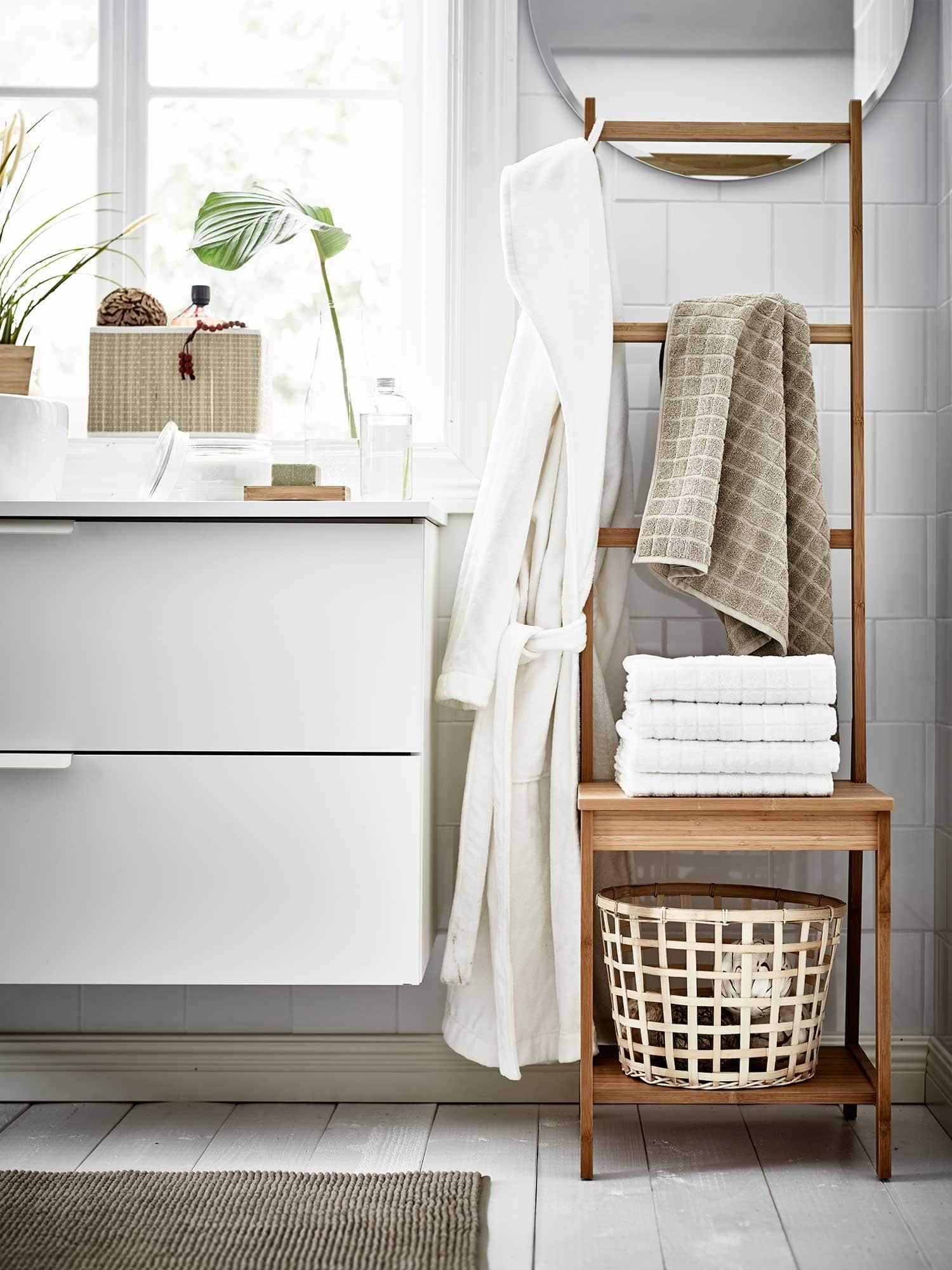 bathroom towel styling on ikea ragrund bamboo towel rack and chair