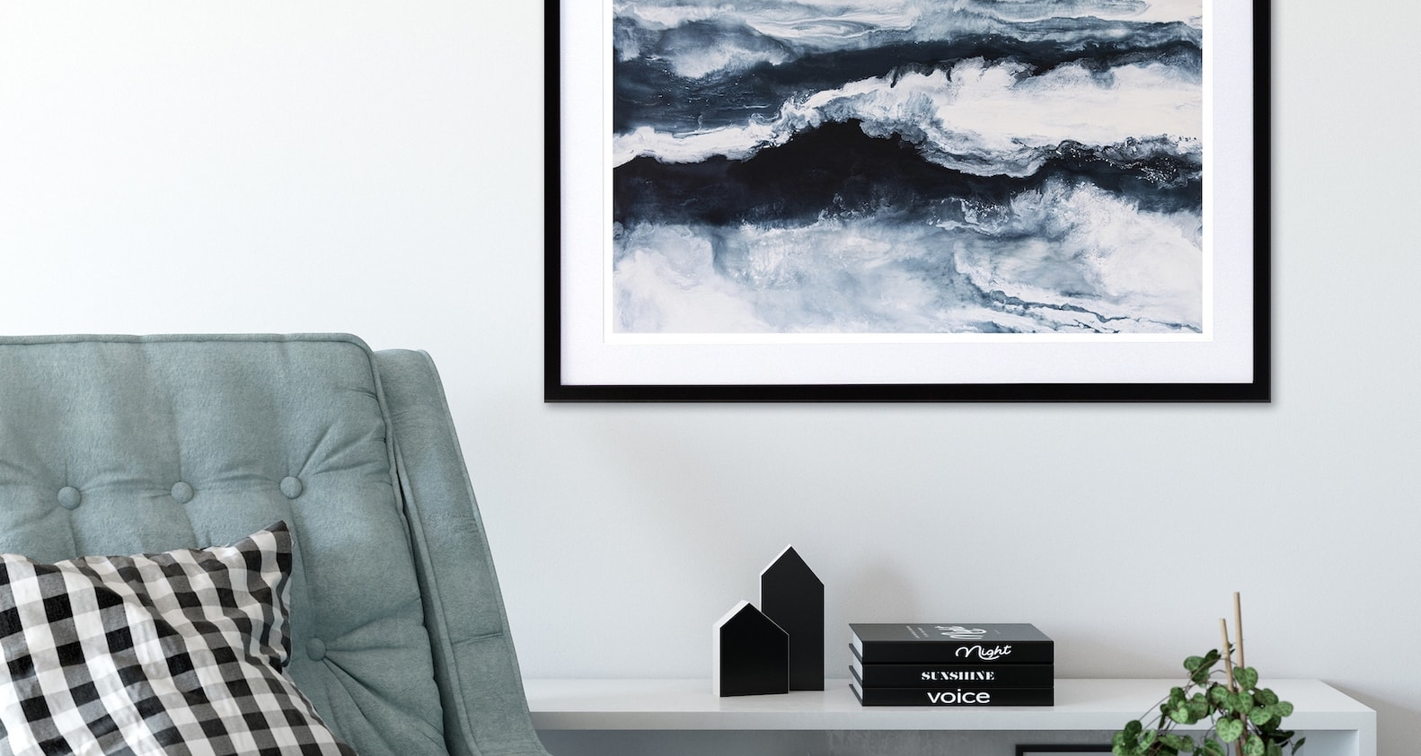 erin rigney bustle blue and white abstract artwork from fineprint co