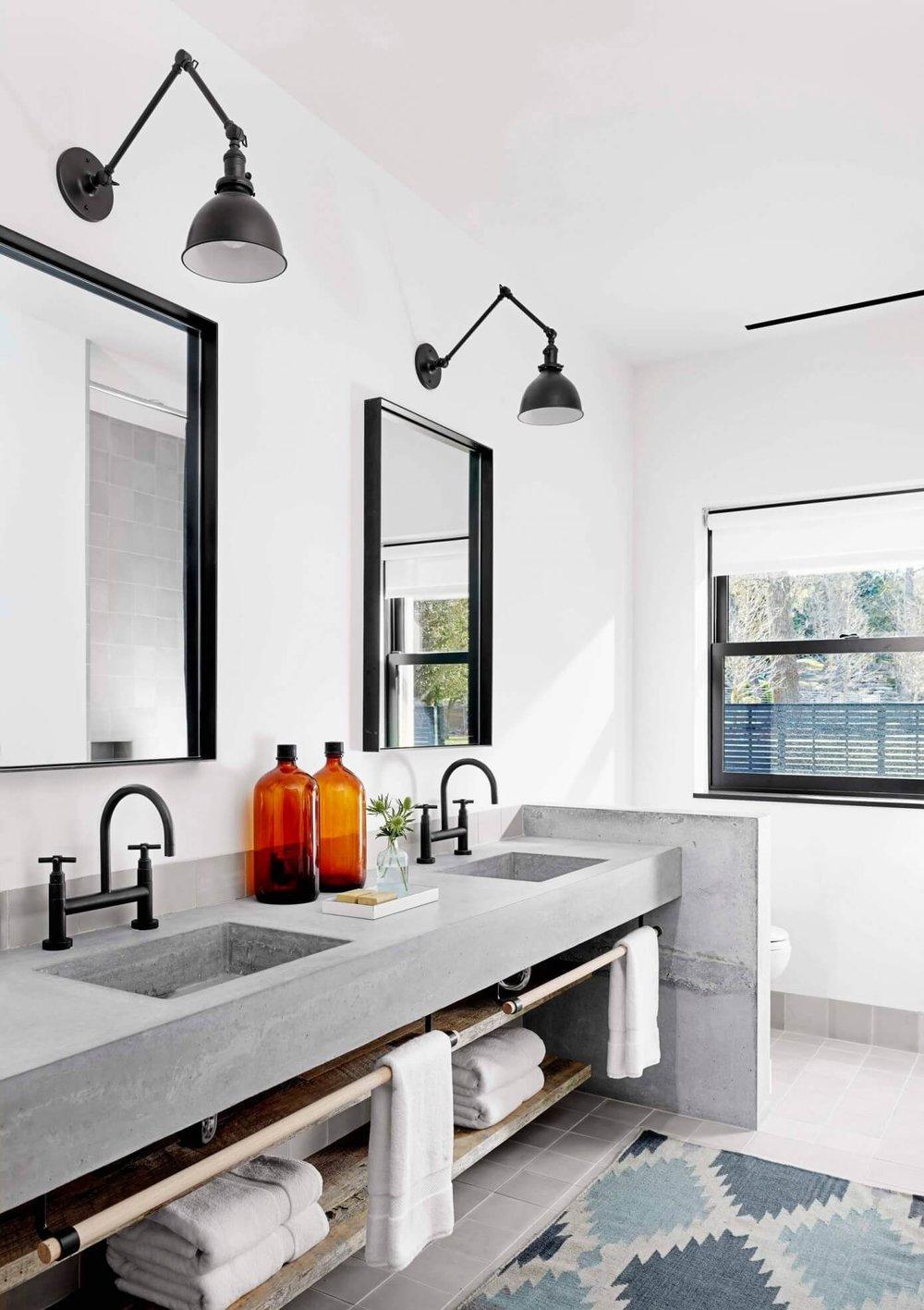 industrial bathroom vanity concrete vanity with suspended timber rail