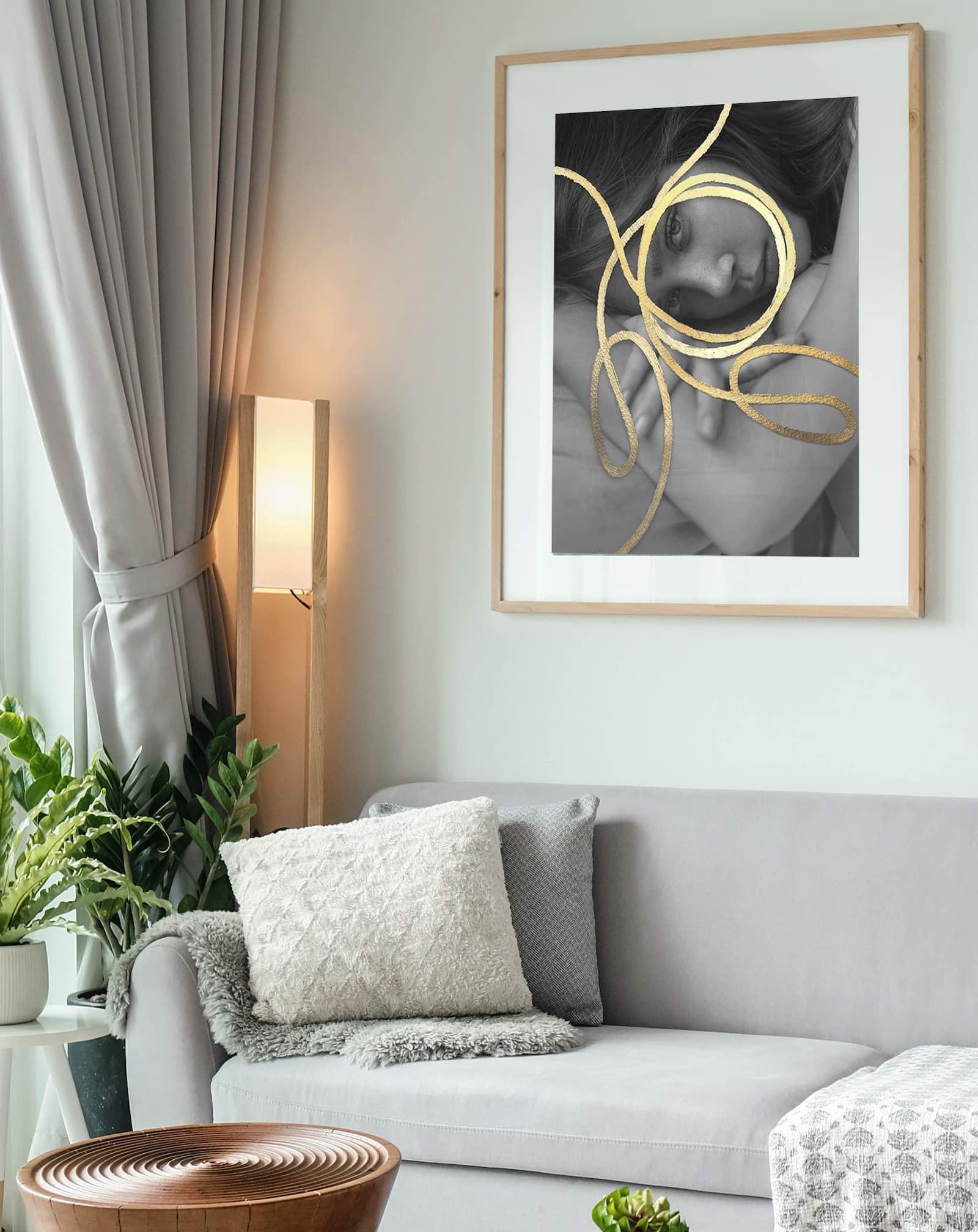 orbit artwork black and white female art gold