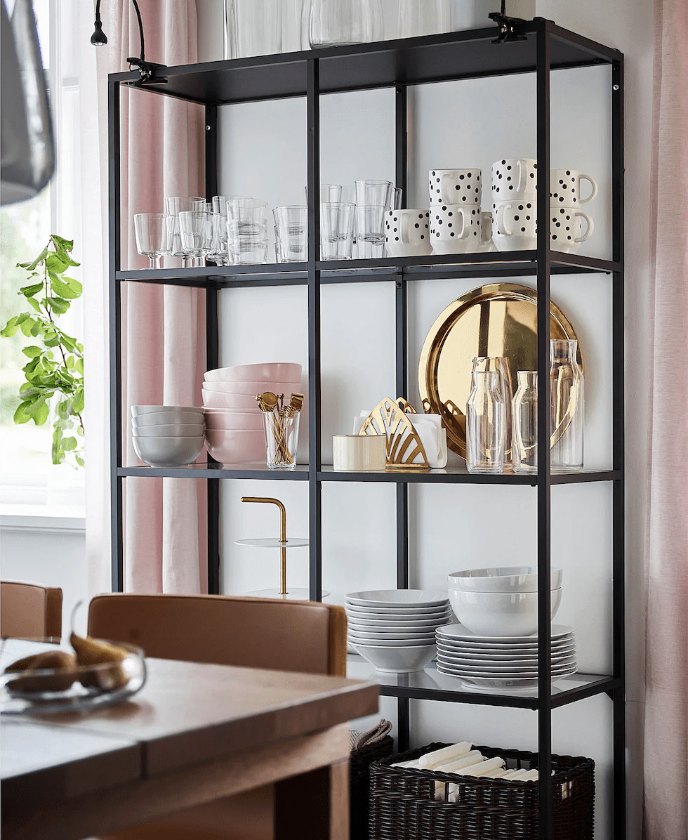 styling a cube shelf black shelf with gold and pink styling