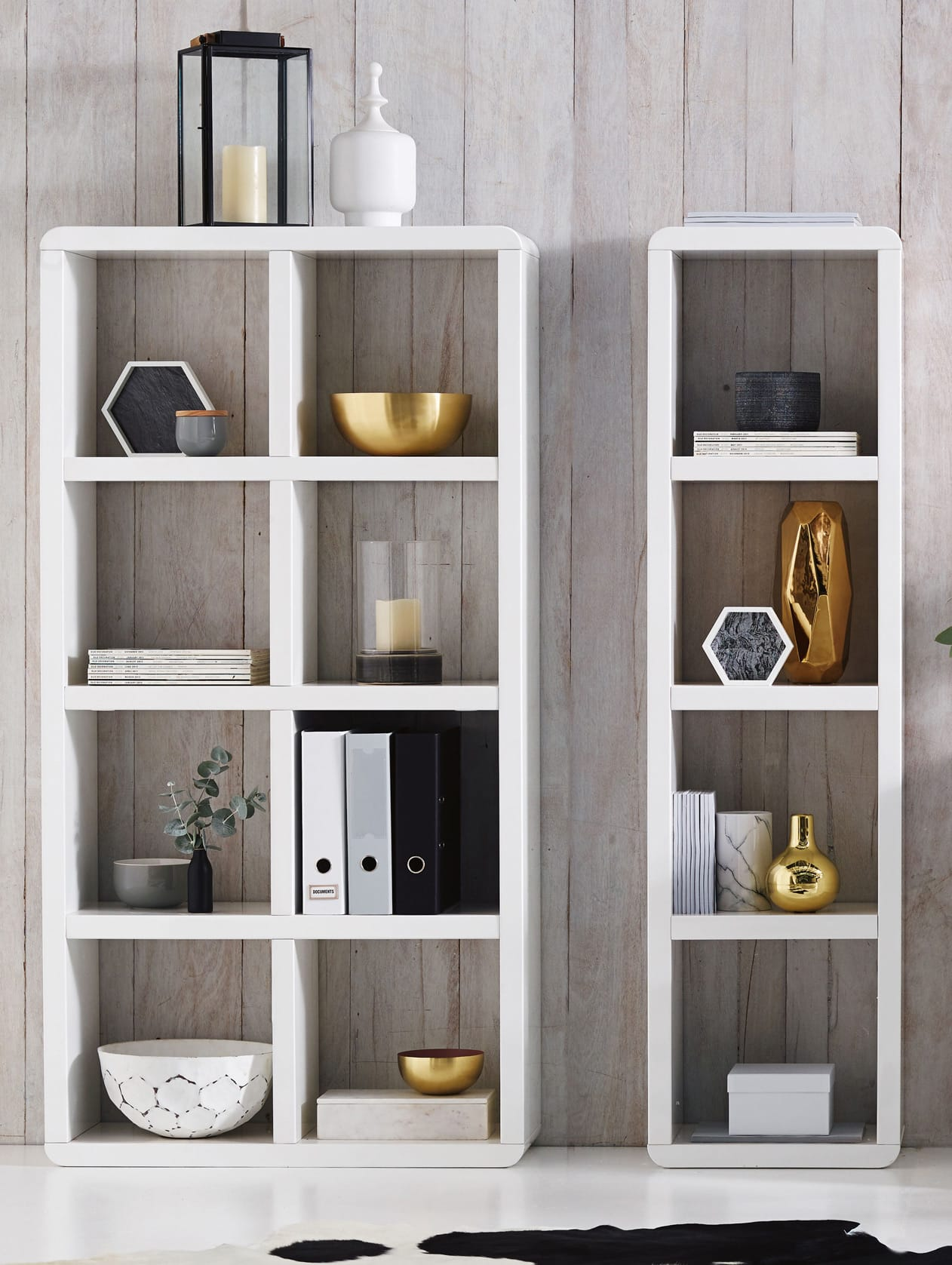 white cube shelf styling with black white and gold colours